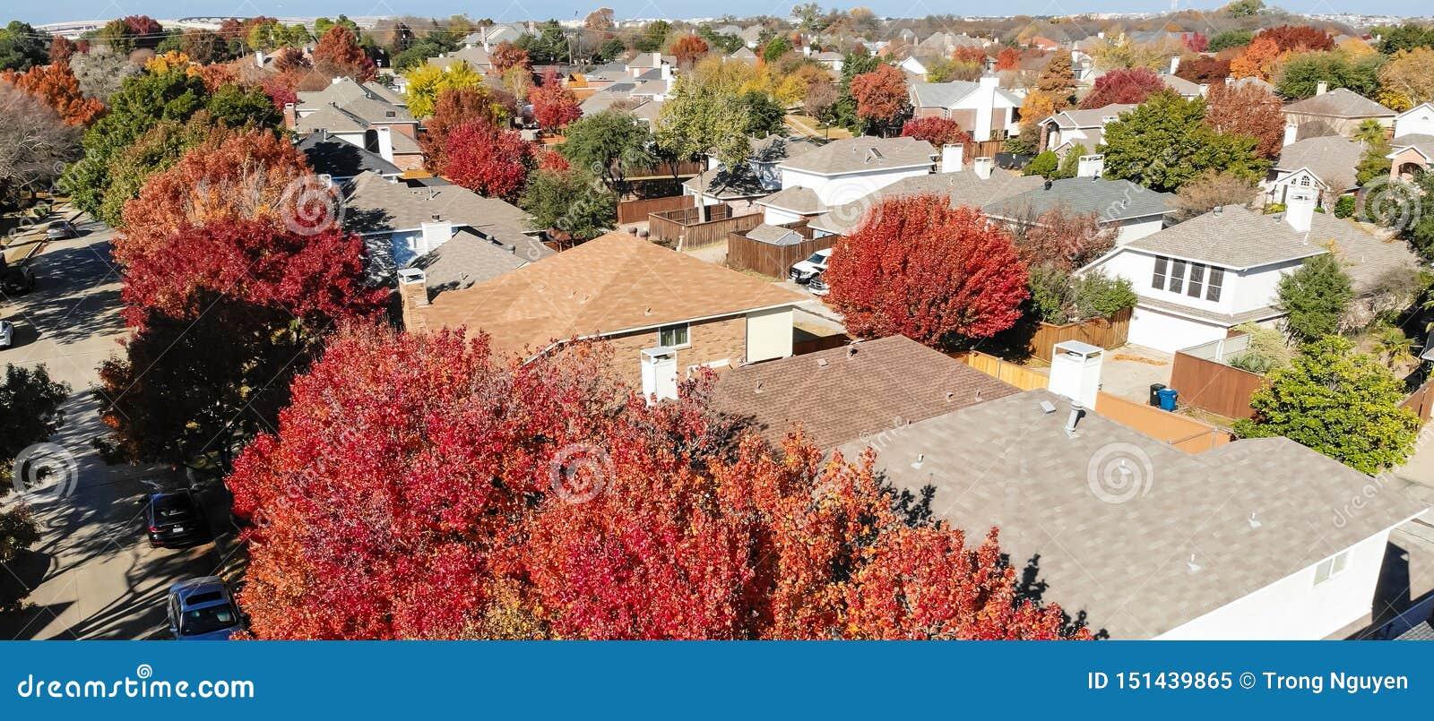 全景空中在秋季期间的特写镜头五颜六色的房子在达拉斯附近的住宅区