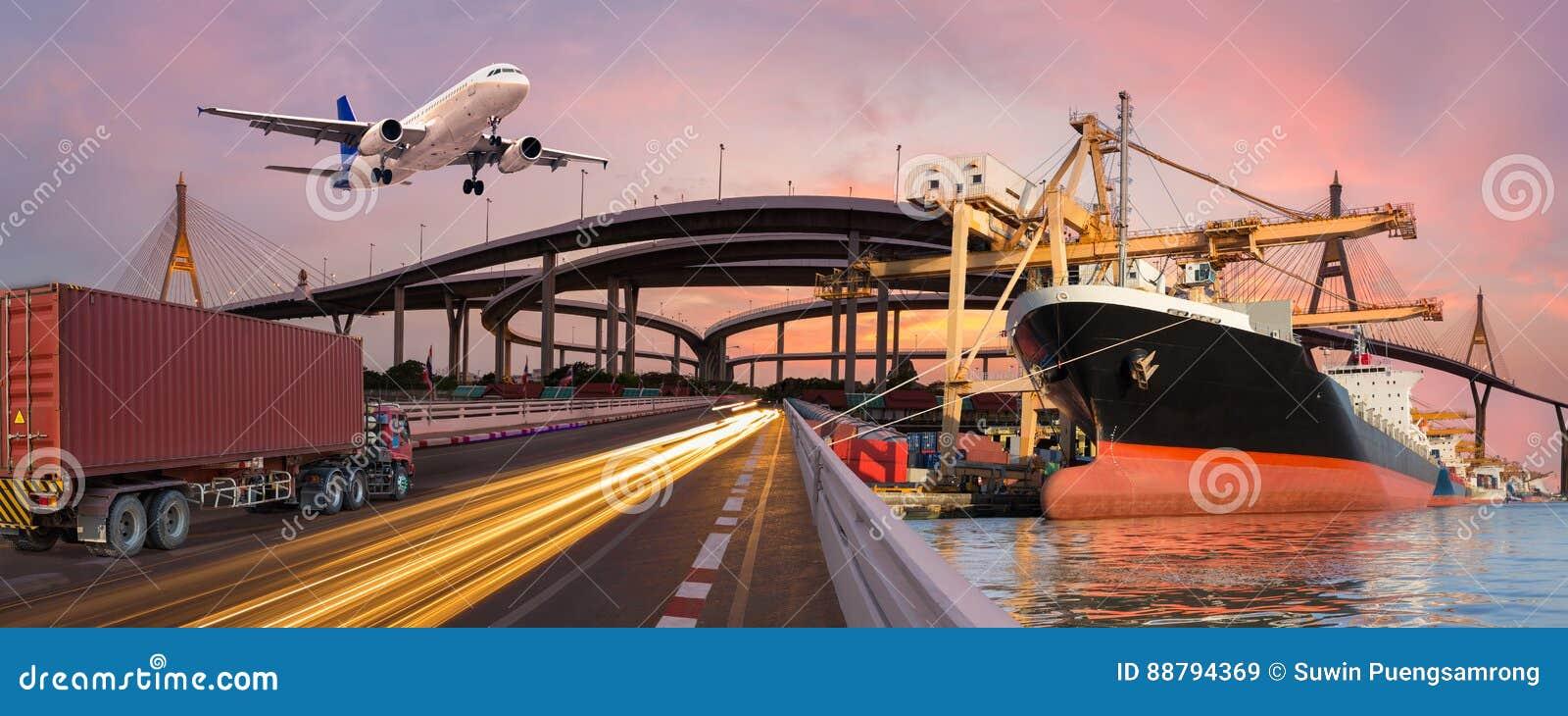 全景运输和后勤指导方针乘卡车小船飞行