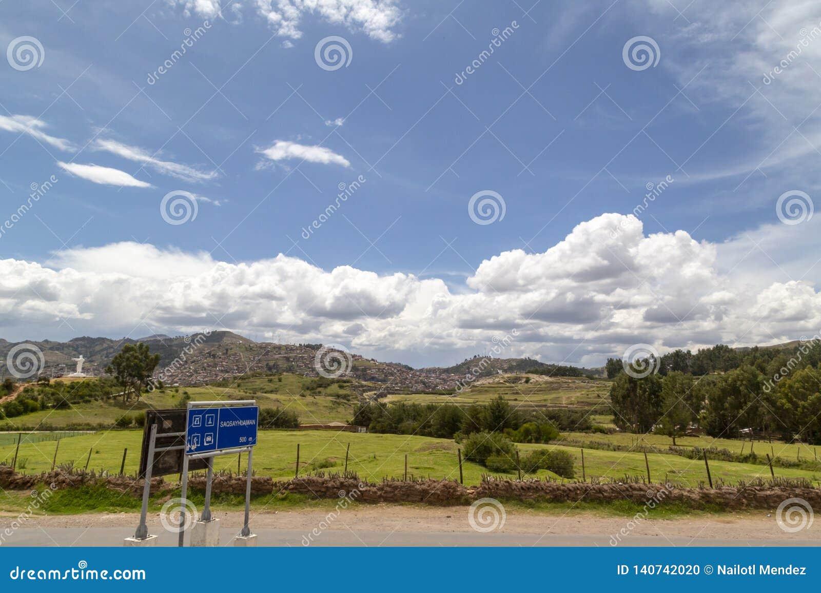 全景,Sacsayhuman是印加人废墟,库斯科,秘鲁