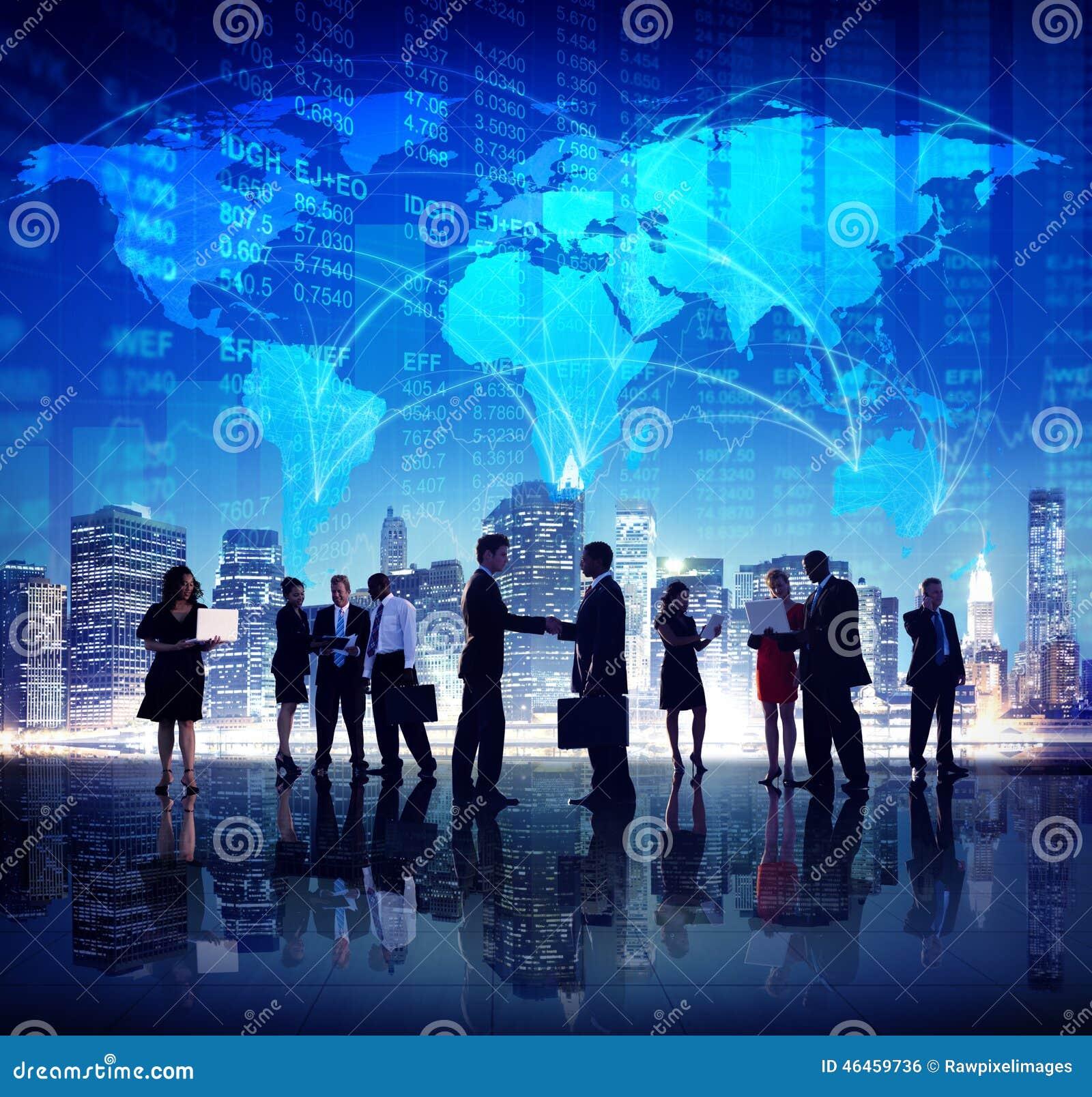 全球企业人手震动财务城市概念