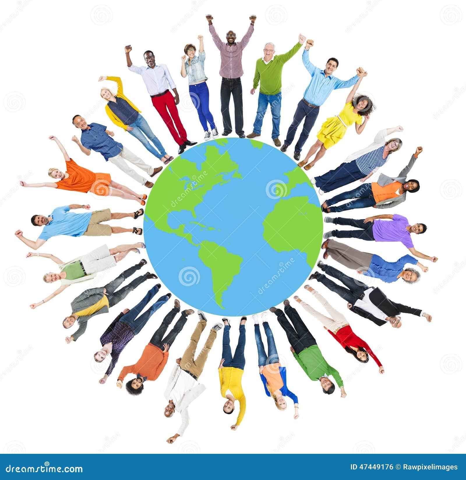 全球性世界地图人圈子幸福统一性快乐的C