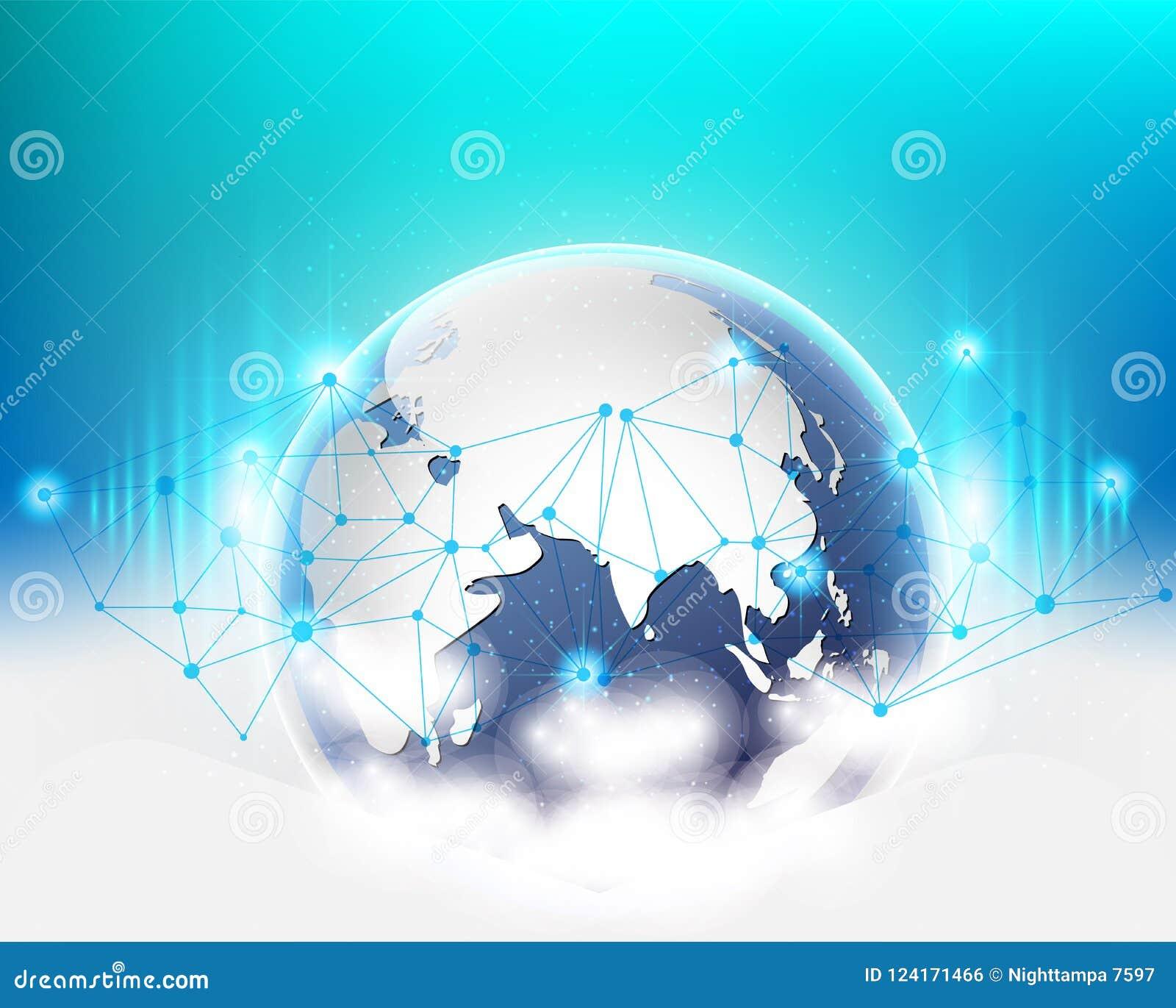 全球性世界连接云彩数据信息网络质量系统 也corel凹道例证向量