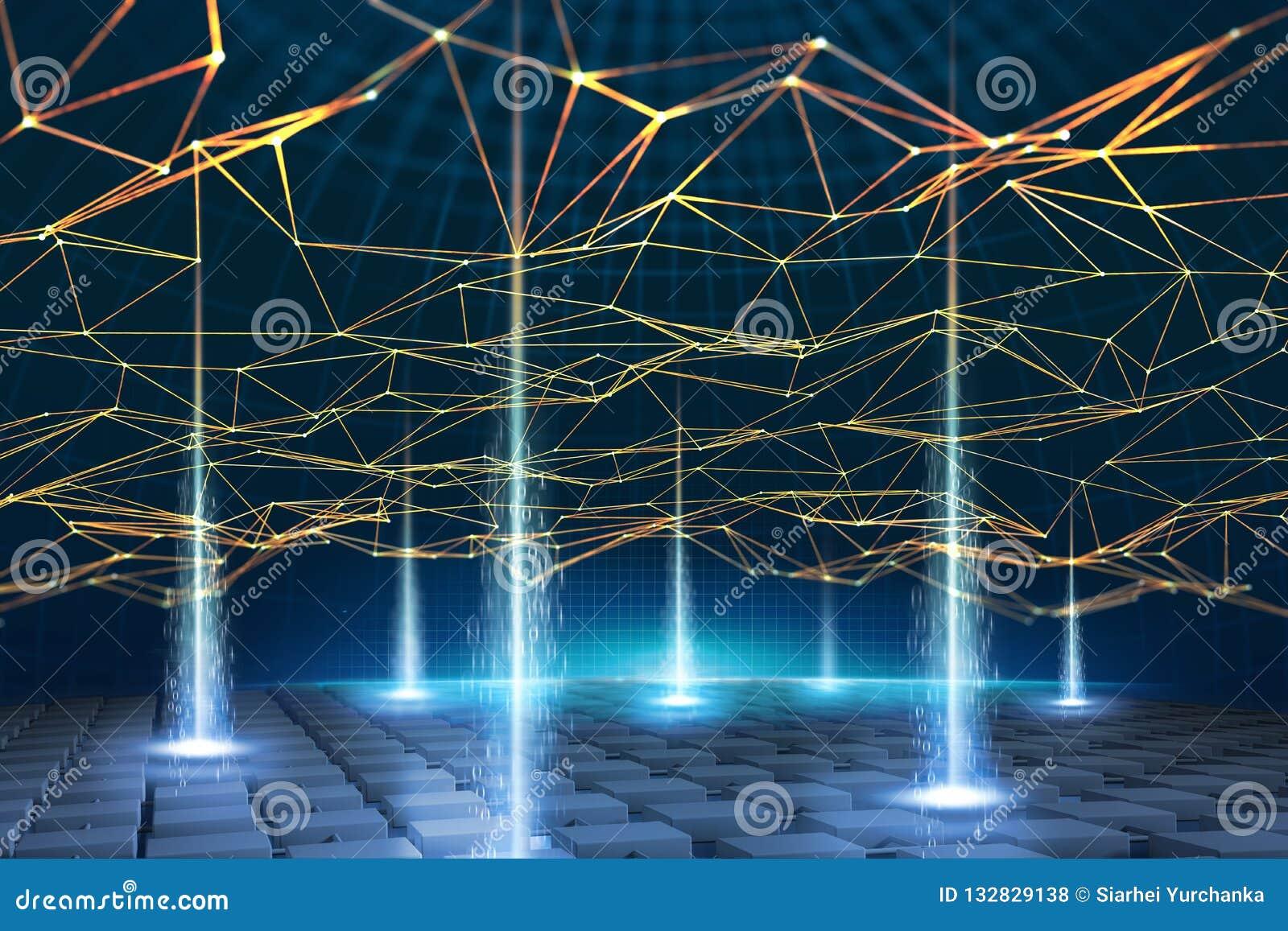 全球性信息网根据Blockchain技术 数据处理和存贮的视觉概念 分散的databas