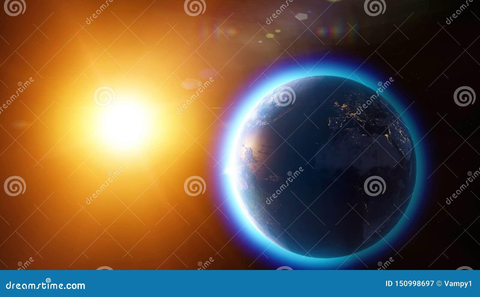 全球性变暖和气候变化、地球的卫星看法和太阳 空间和星大气,臭氧气孔