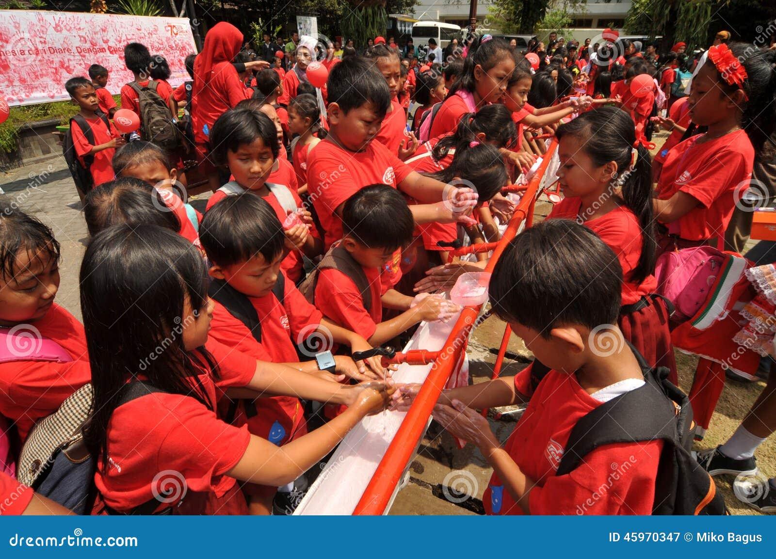 全球性手洗的天在印度尼西亚