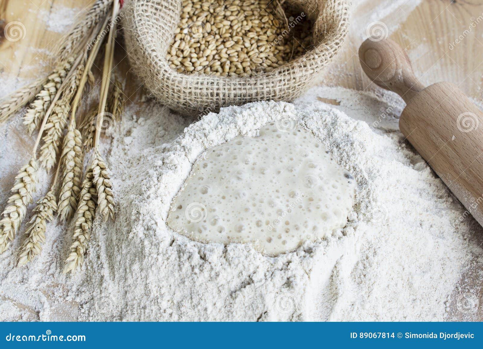 全麦面粉、酵母和麦子