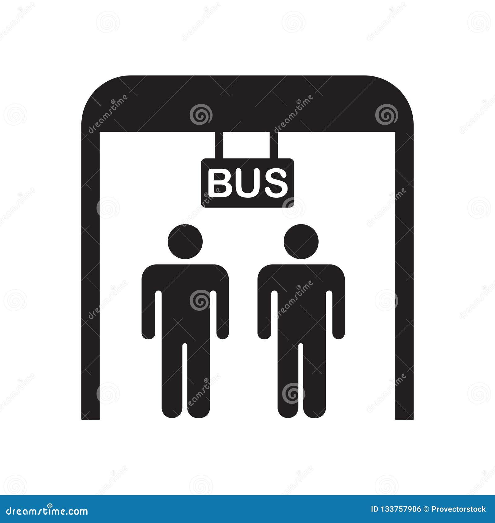公交车站象在白色背景和标志隔绝的传染媒介标志,公交车站商标概念