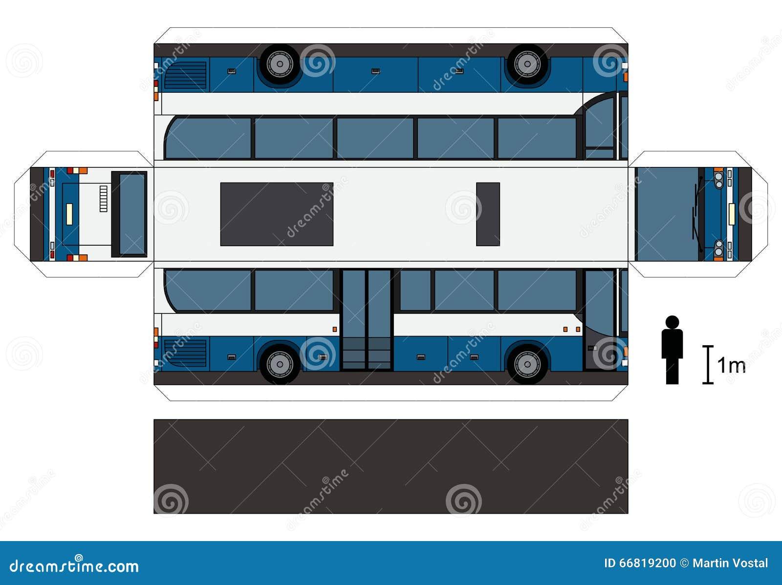 一辆蓝色和白色公共汽车,传染媒介例证的纸模型.