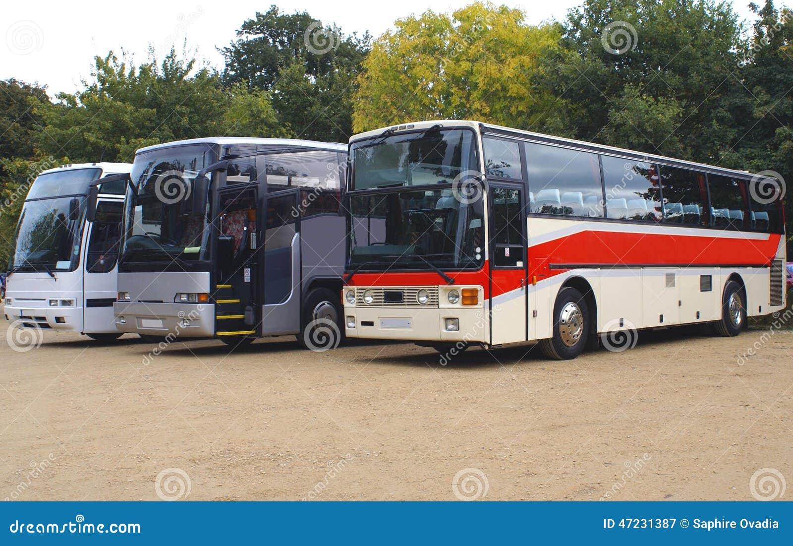 公共汽车 教练 公共汽车或教练在停车场停放了