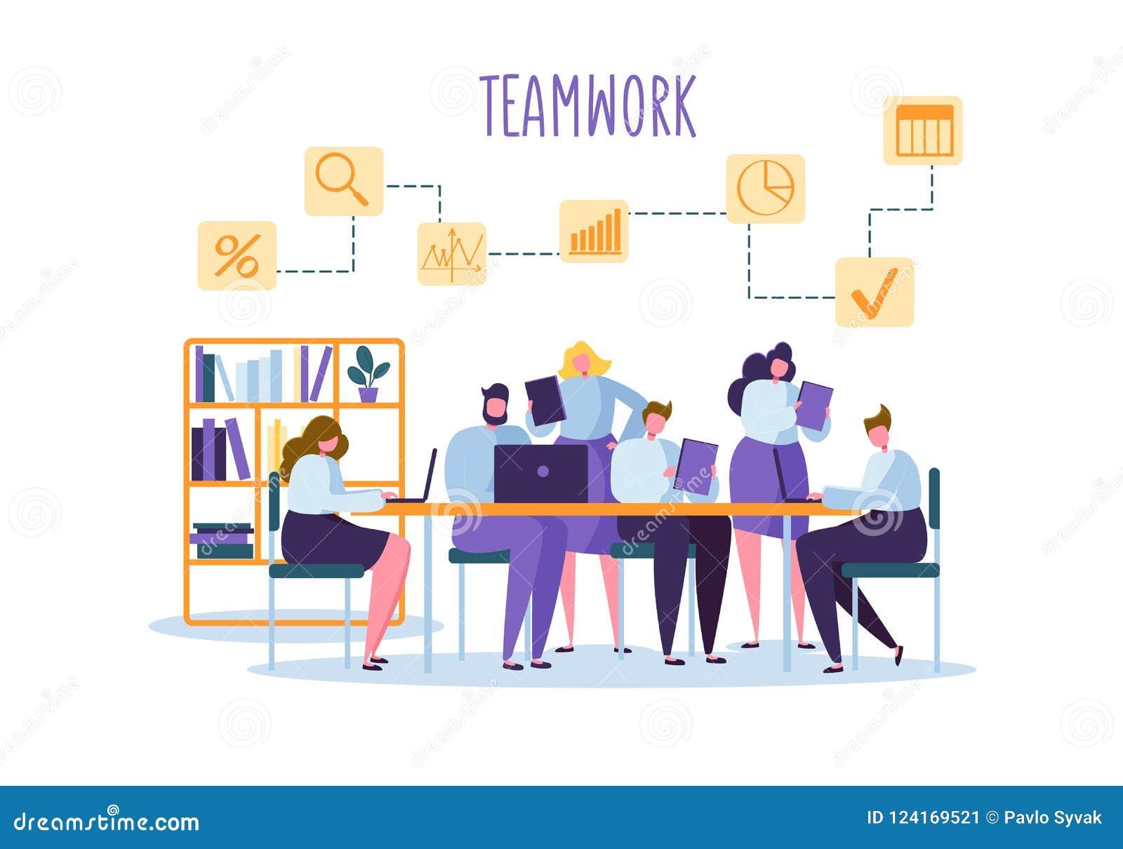 公司业务在书桌后的队人 平的字符办公室工作者 配合概念 Coworking空间
