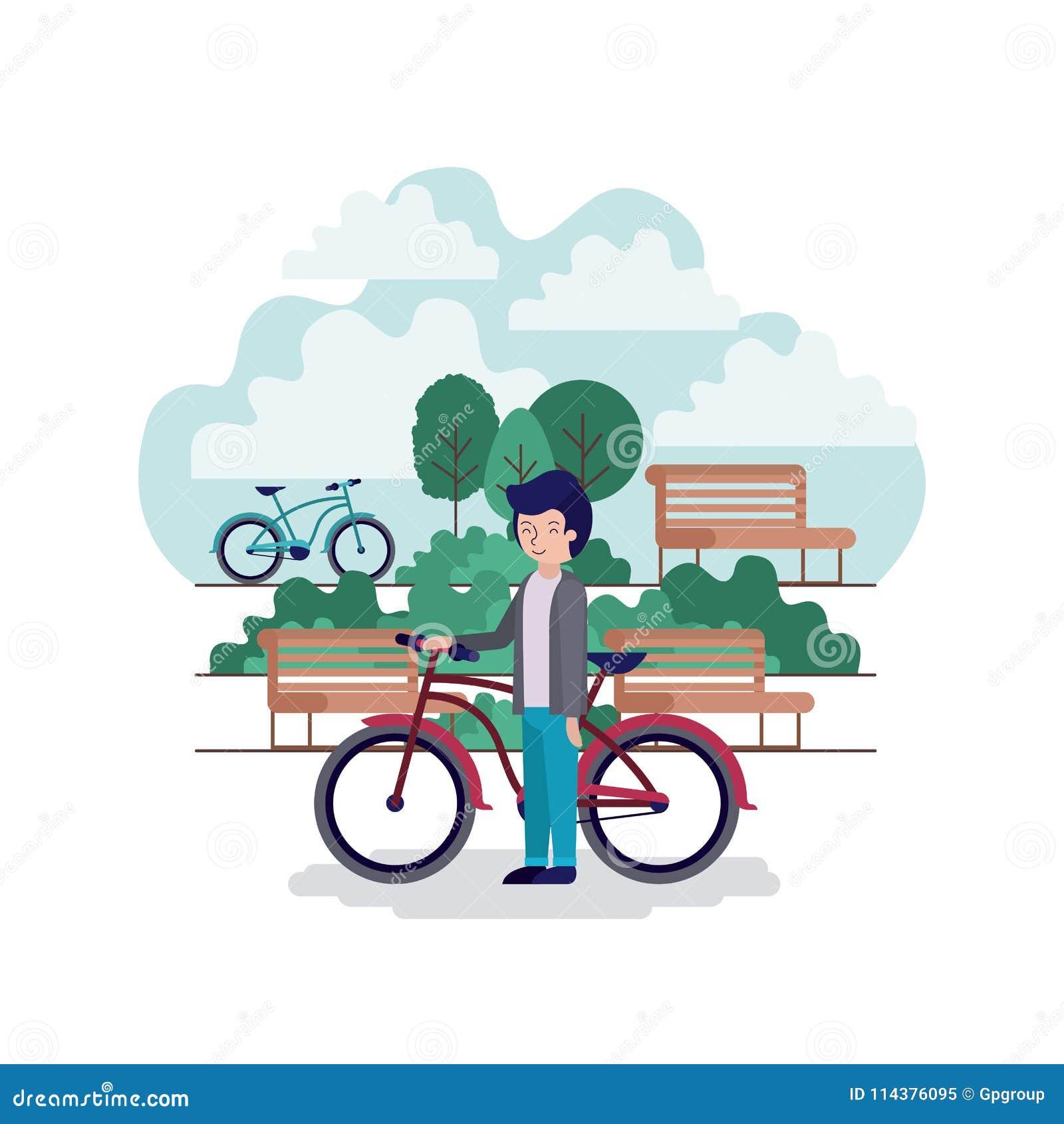 公园场面的人与椅子和自行车
