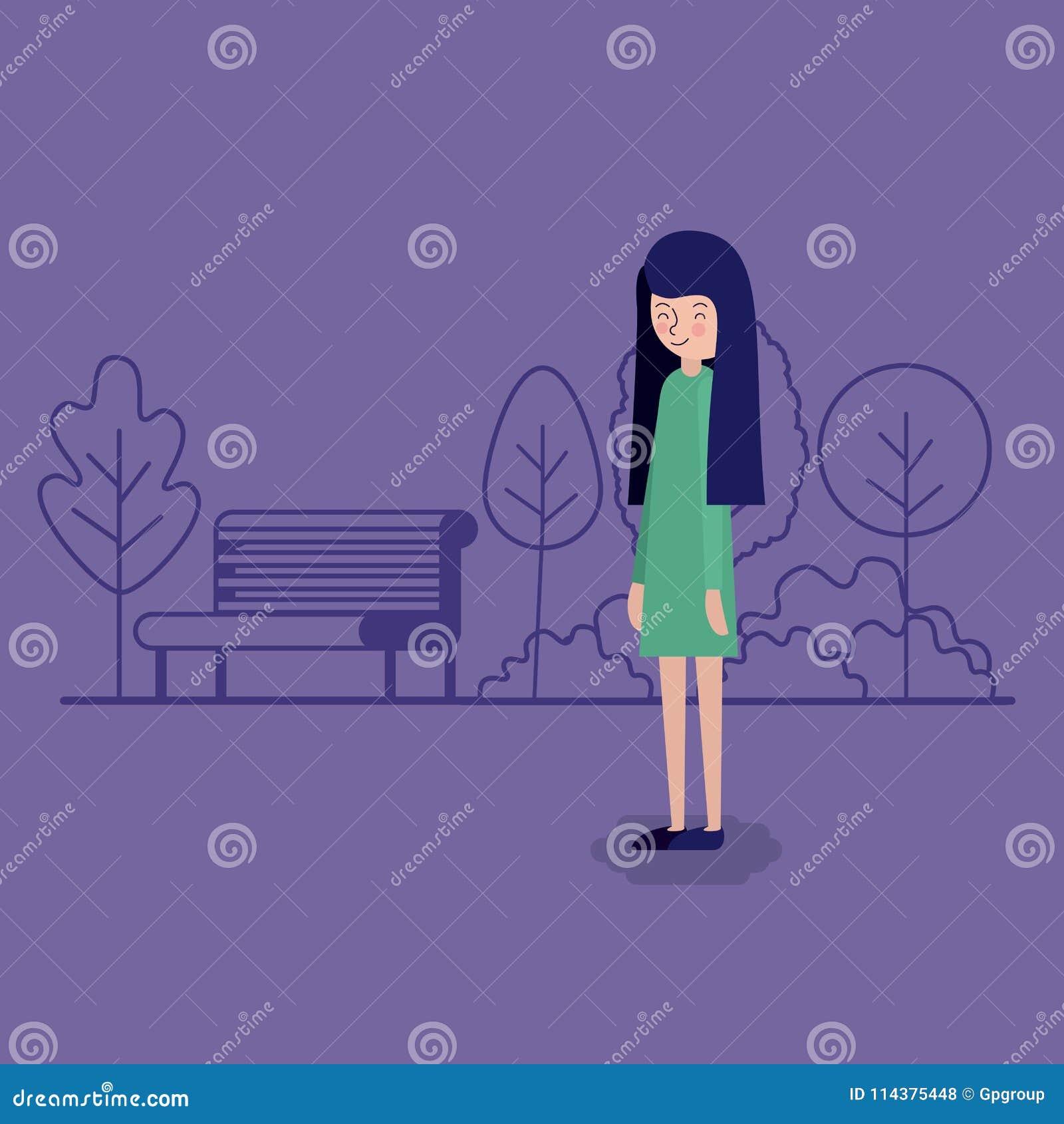 公园场面的妇女与椅子