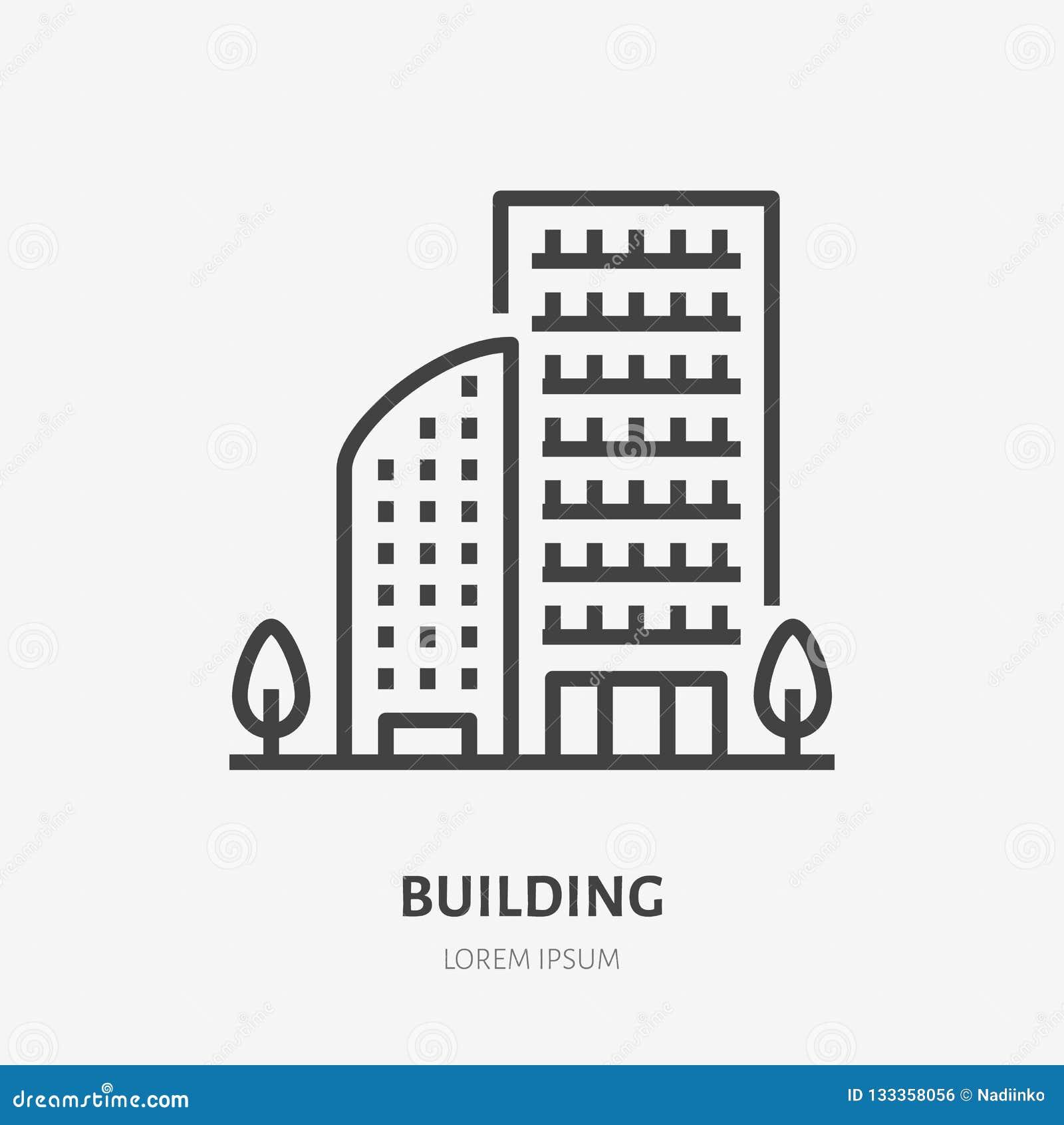 公寓平的线象 多层的房子、公寓房或者办公室租商标的传染媒介稀薄的标志 庄园舱内甲板房子实际租金销售额