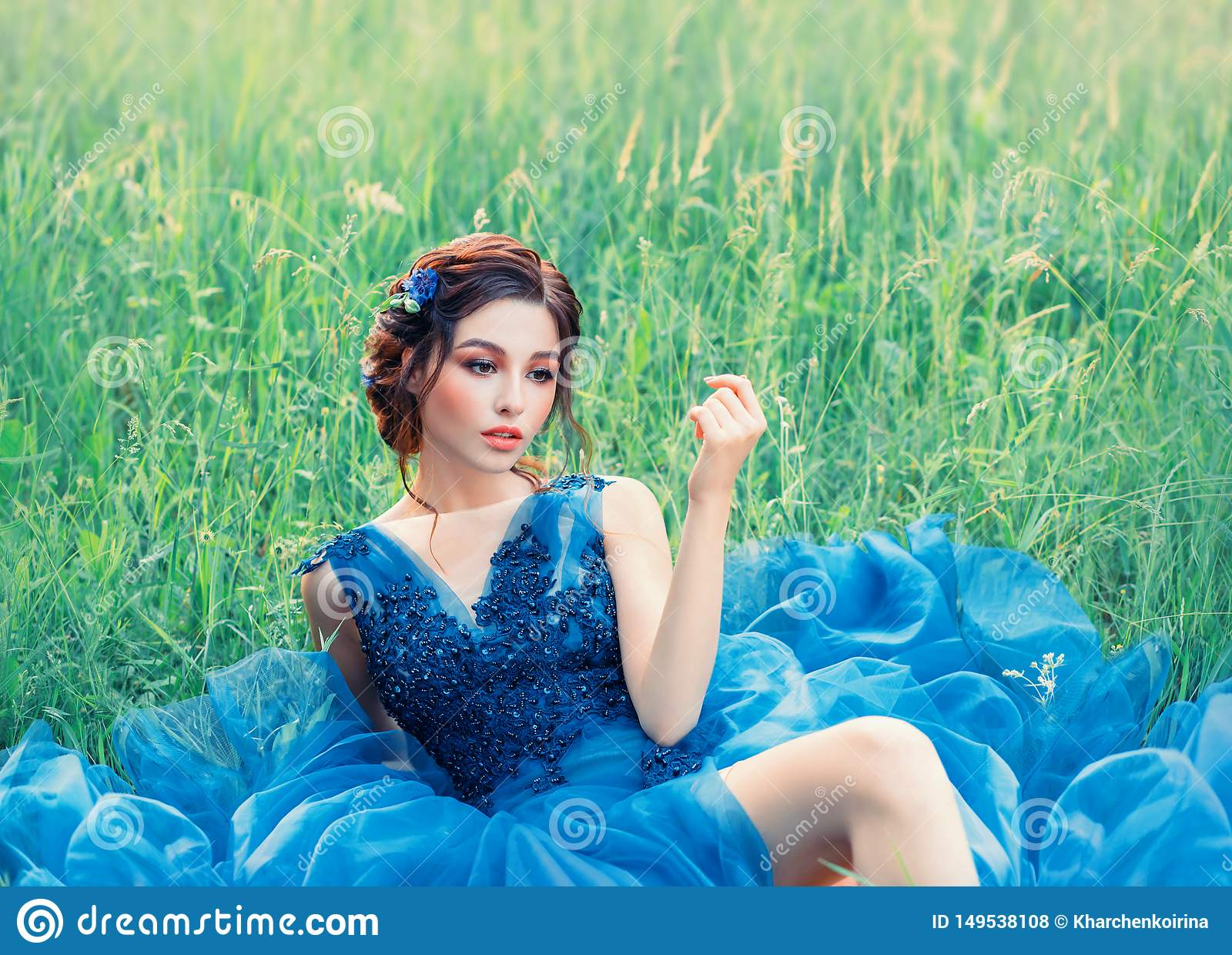 关于瓷玩偶,长的蓝色豪华的精美礼服的可爱的女孩的迷人的神奇故事 有黑暗的夫人编辫子