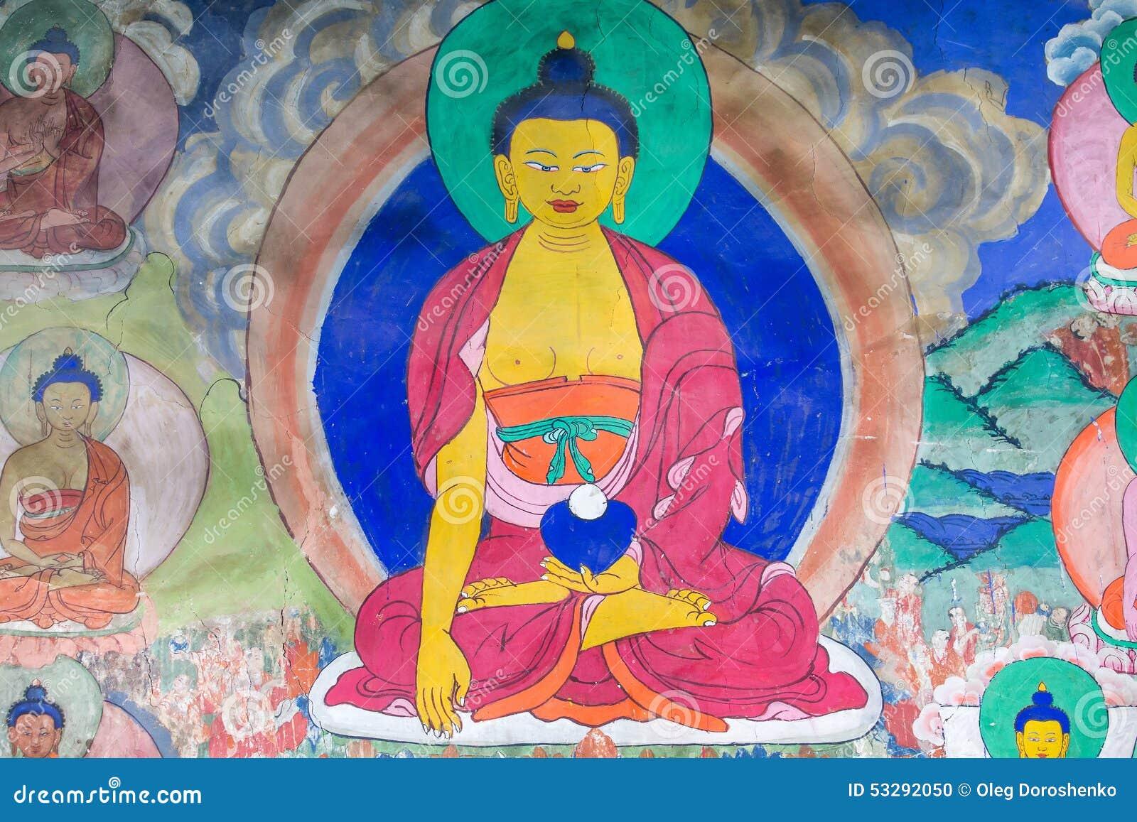 关于菩萨故事的传统绘画艺术在寺庙墙壁上