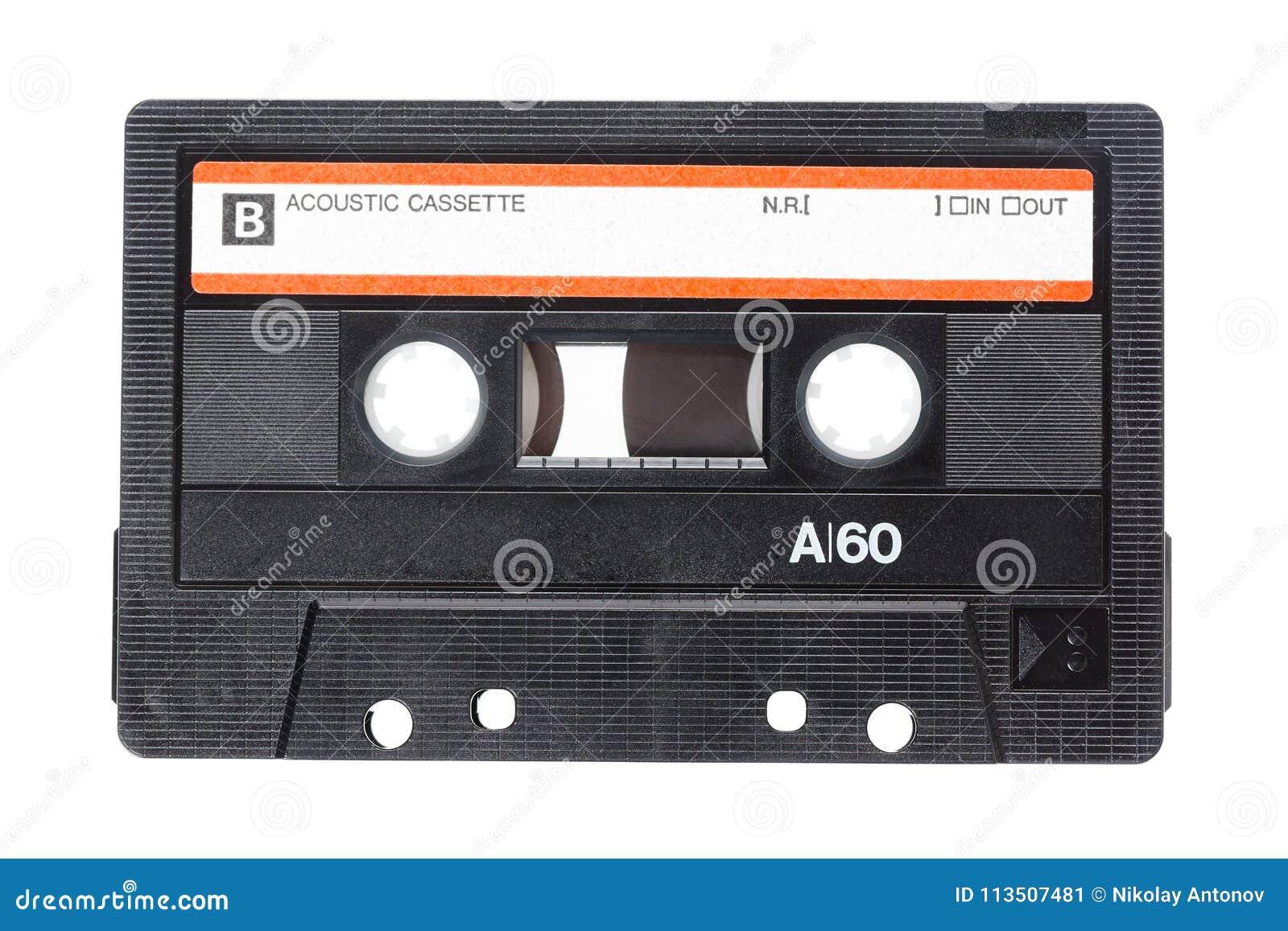 关闭在白色背景隔绝的葡萄酒卡型盒式录音机磁带的图象 顶视图