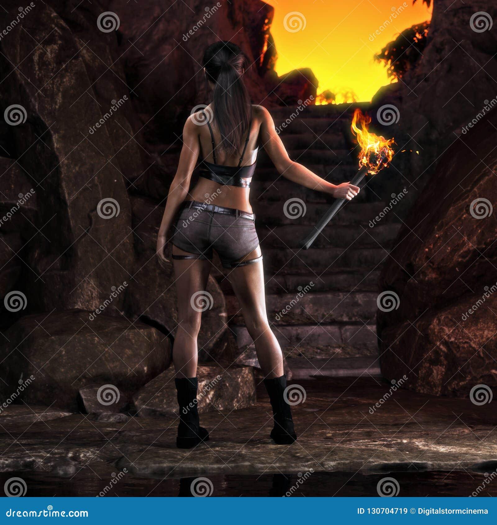 兴奋寻找的冒险的女性登高在一个巨大发现