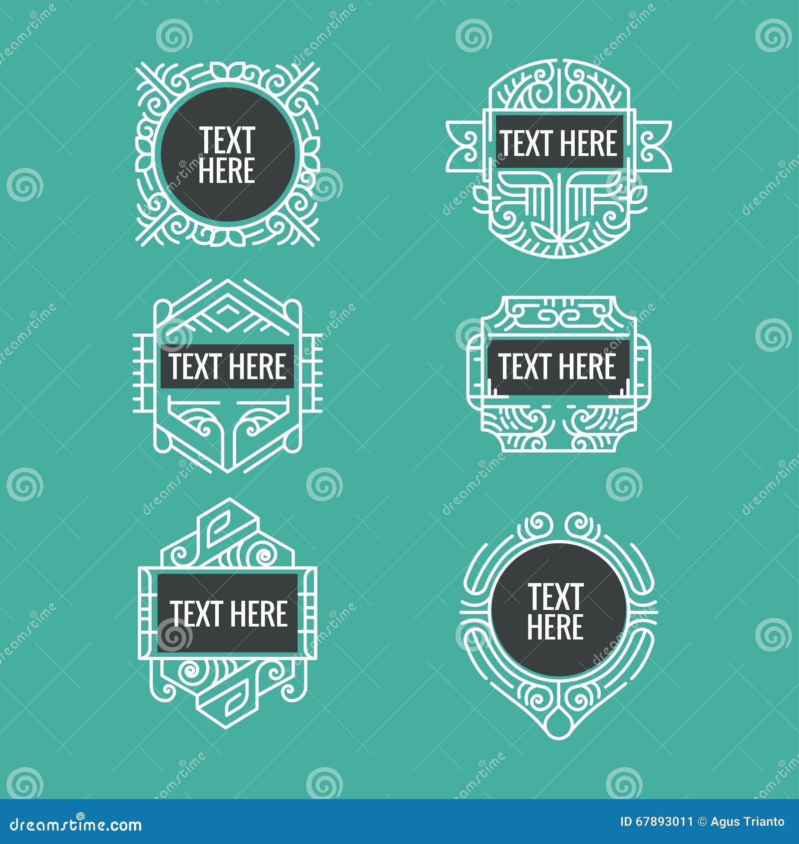 经典艺术装饰豪华最小的行家几何葡萄酒传染媒介组合图案、框架、边界、徽章、标签、冠或者葡萄酒Insigni