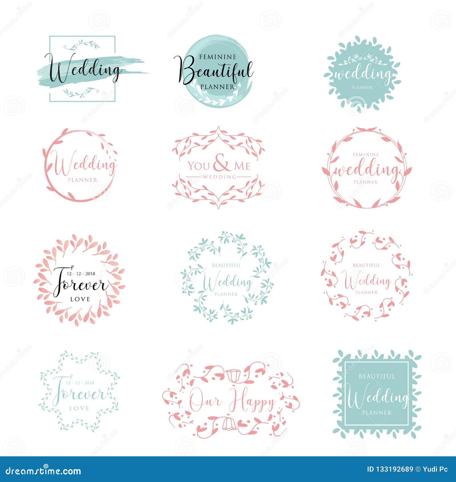 典雅和女性花卉婚姻的商标汇集传染媒介例证