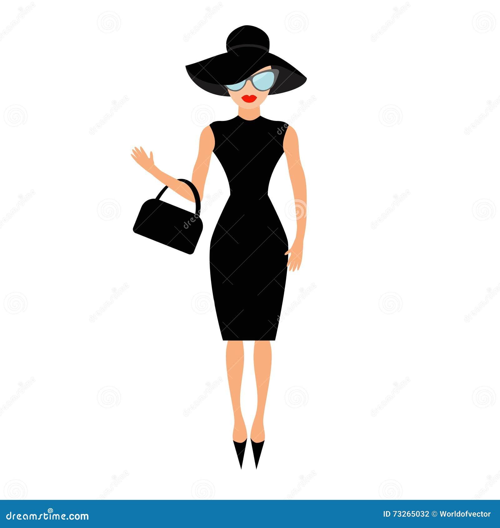 黑典雅帽子、袋子和太阳镜挥动的妇女 富有和美丽的名人女孩 秀丽时装模特儿面孔红色嘴唇 peop