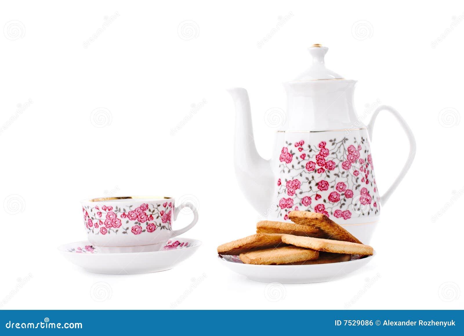 典雅的瓷集合茶