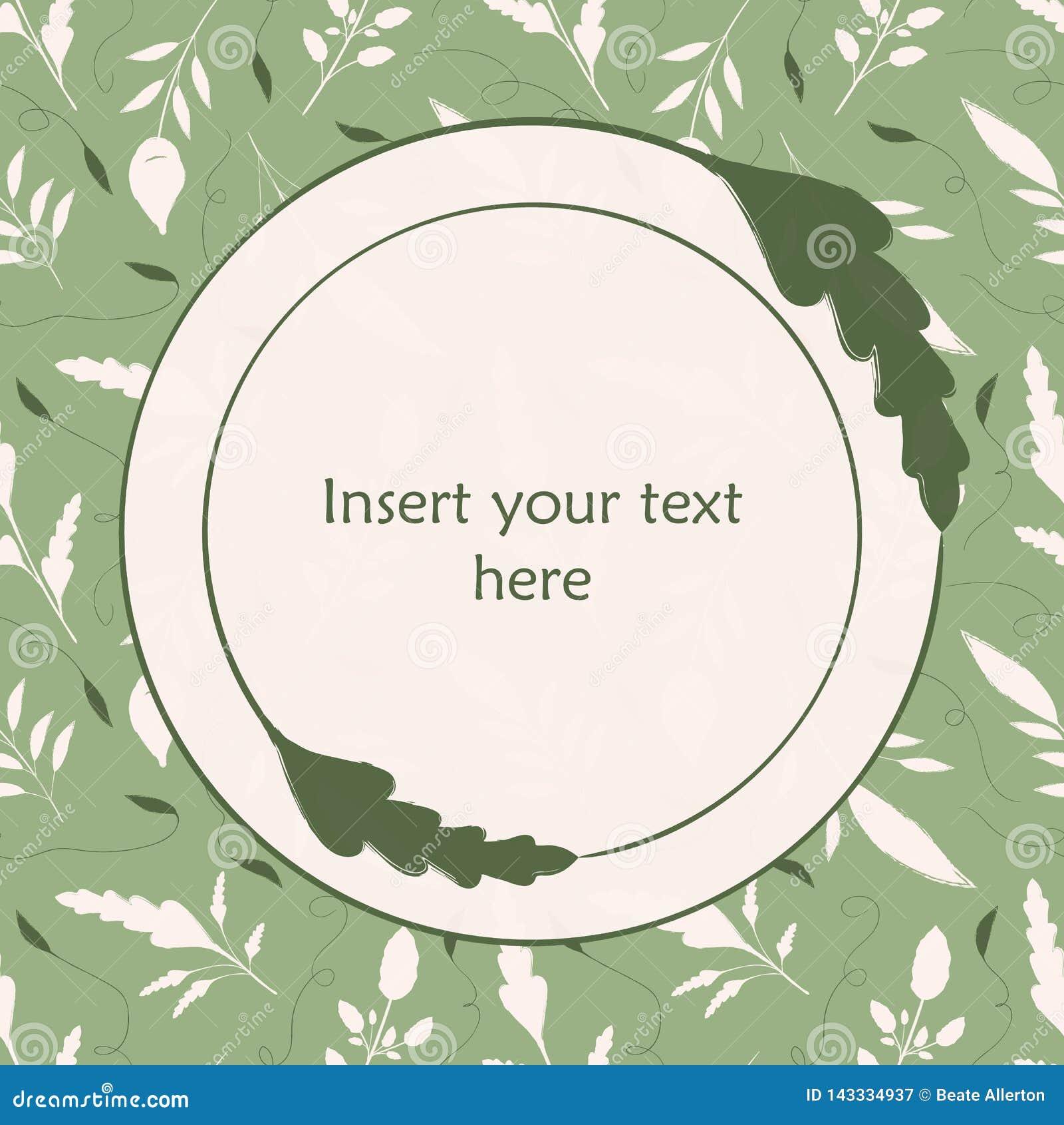 典雅的绿色和奶油色手拉的叶子例证 插入您自己的文本的圆的叶子框架 伟大为有机的温泉
