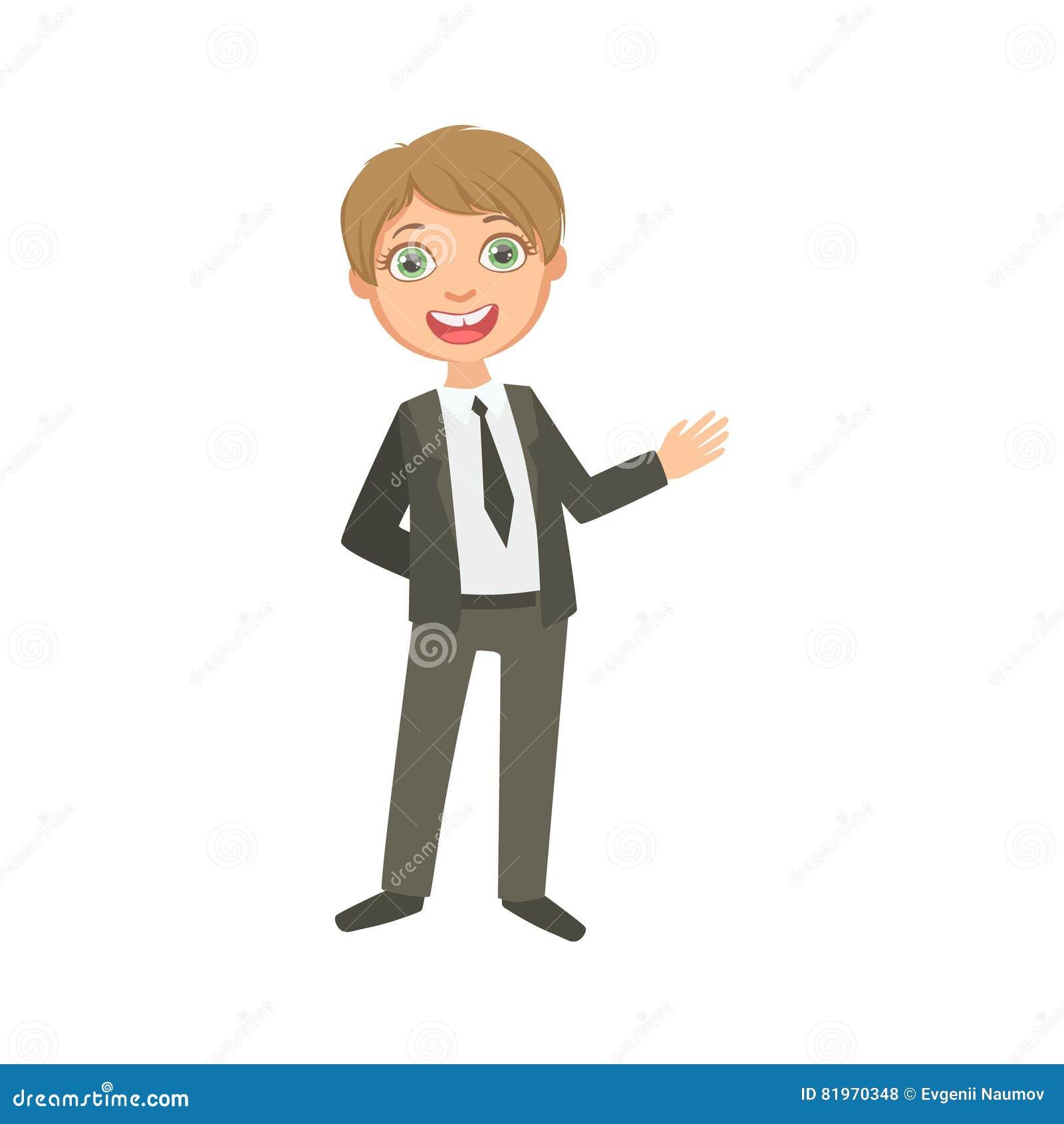 经典黑衣服愉快的Schoolkid的男孩校服站立的和微笑的漫画人物的