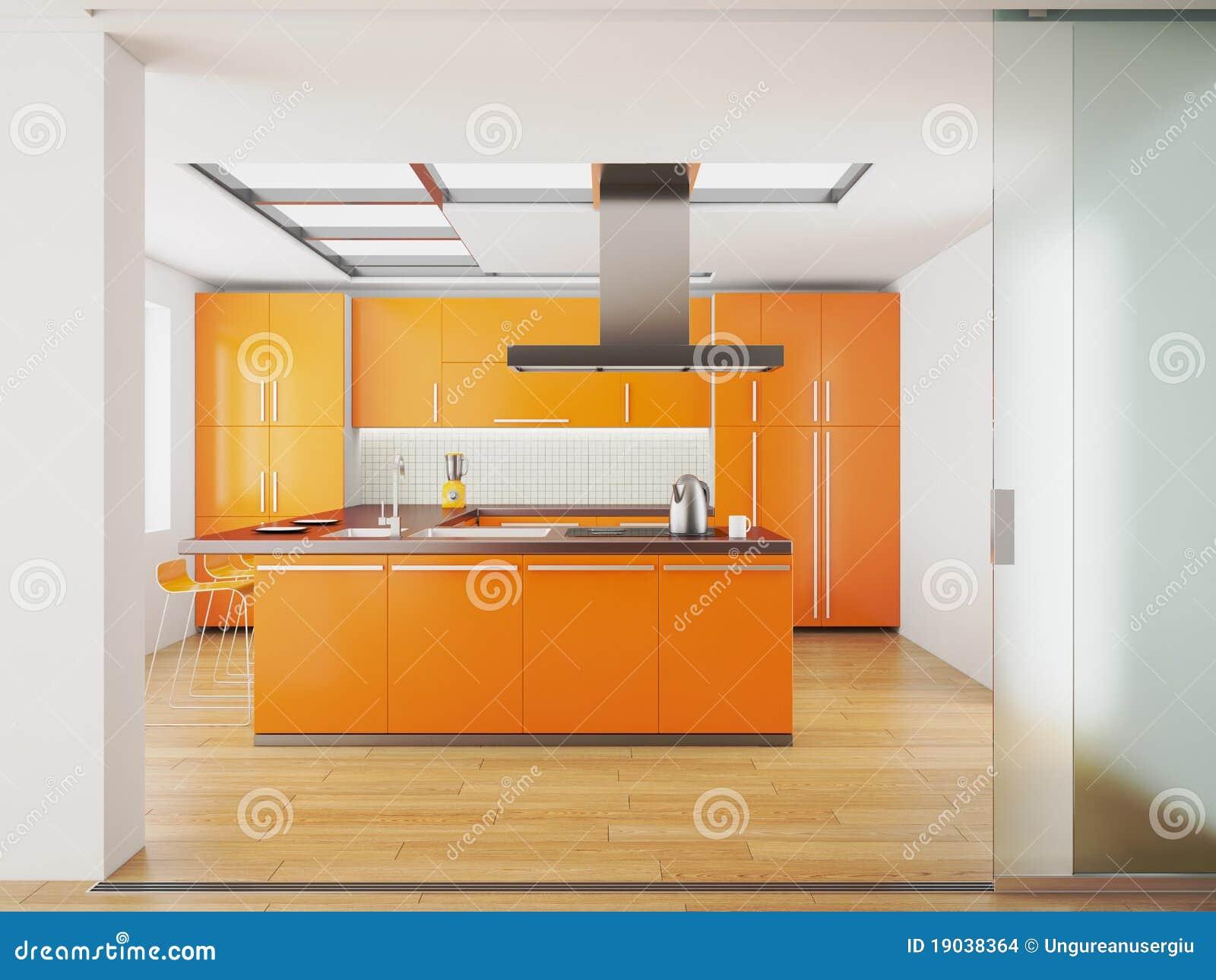 内部厨房现代桔子
