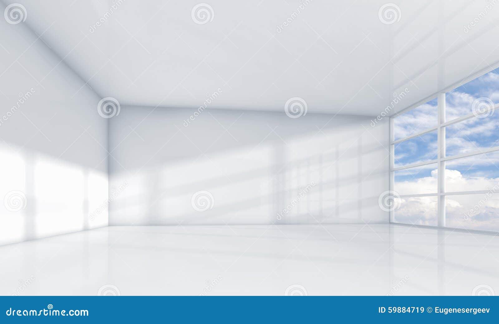 内部抽象的白色3d,空的办公室室