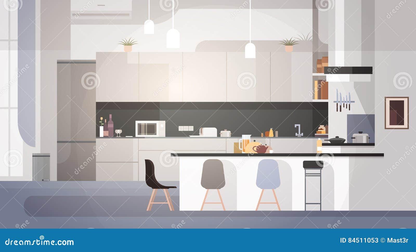 内部现代的厨房不倒空人议院室