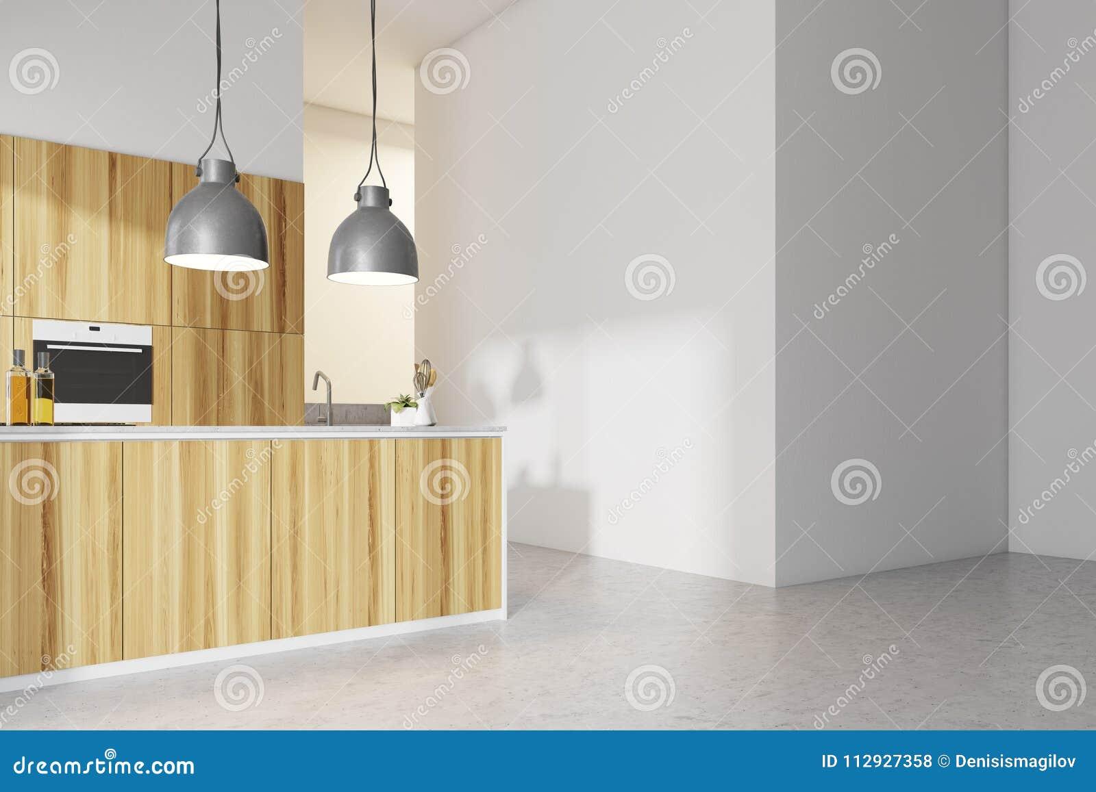 内部白色的厨房,木工作台面