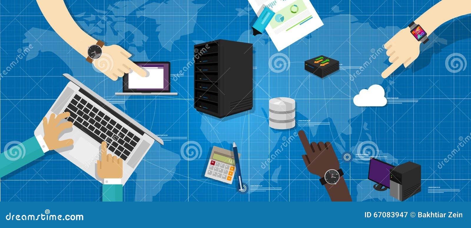 内部网系统计算机服务器数据库路由器云彩互联网互联了世界地图it基础图片