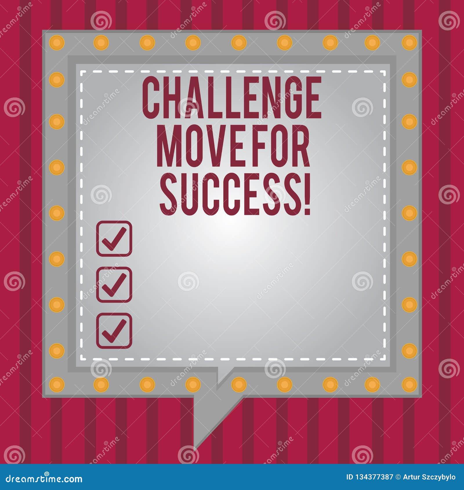 写文本挑战移动的词为成功 专业运动战略的企业概念能成功正方形