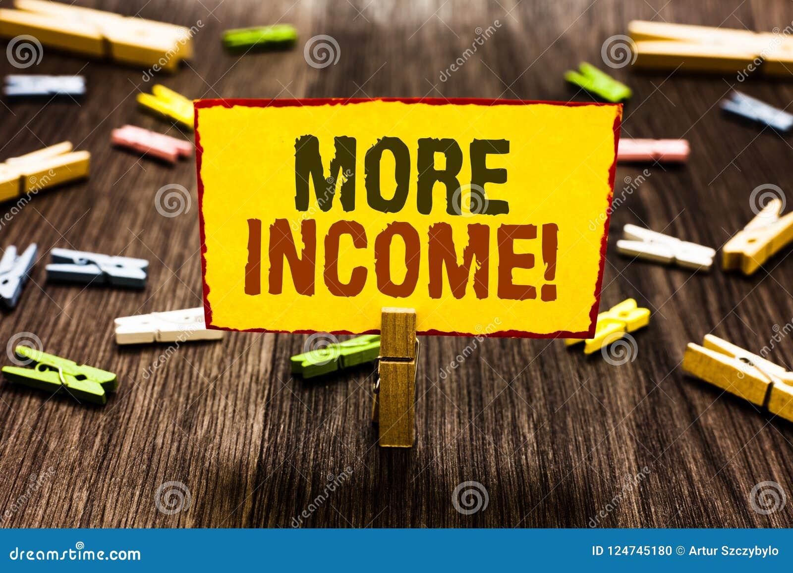 写更多收入的手写文本 意味另外的金钱的概念为交换好接受或为晒衣夹hol服务