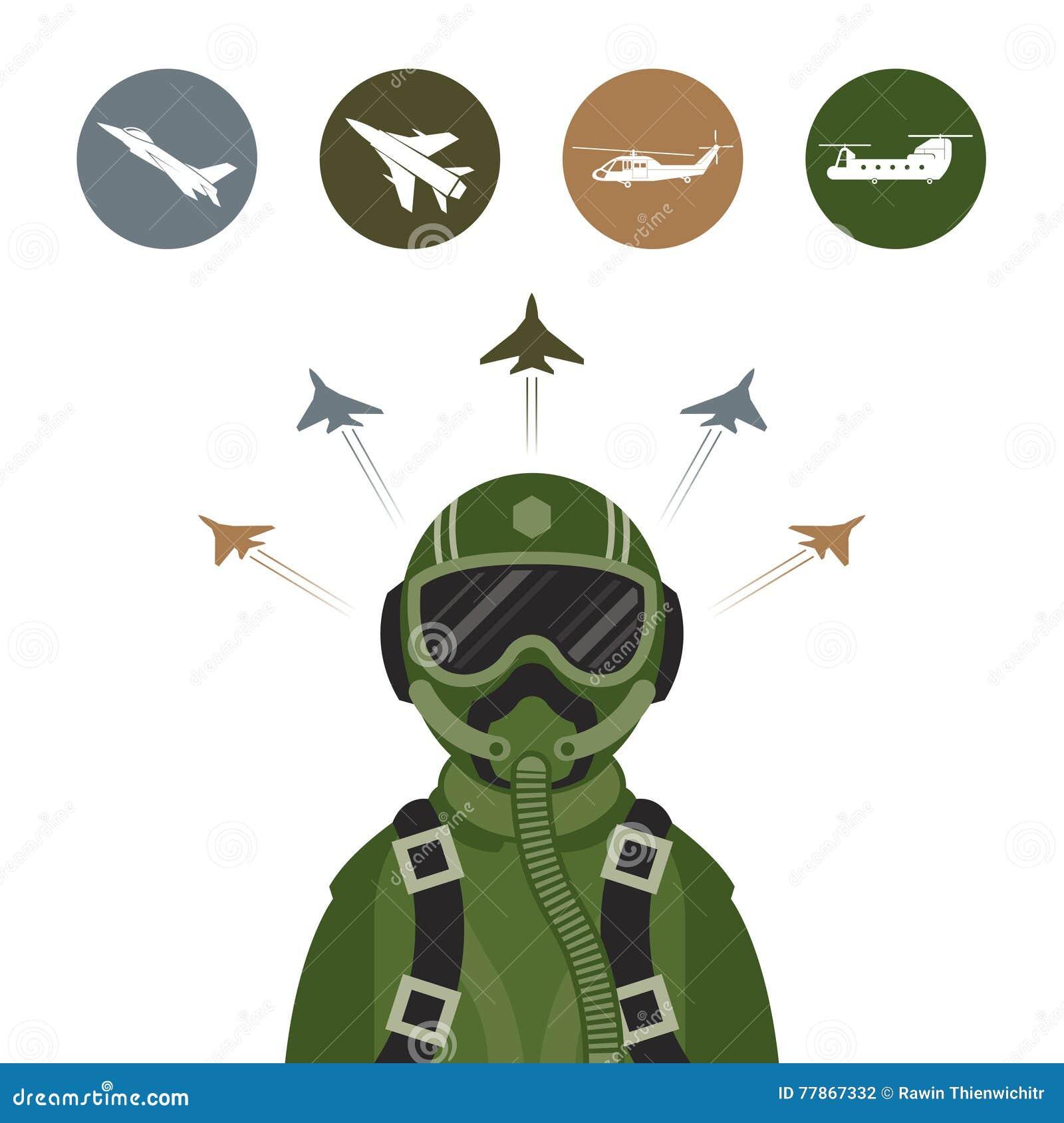 军事喷气式歼击机飞行员
