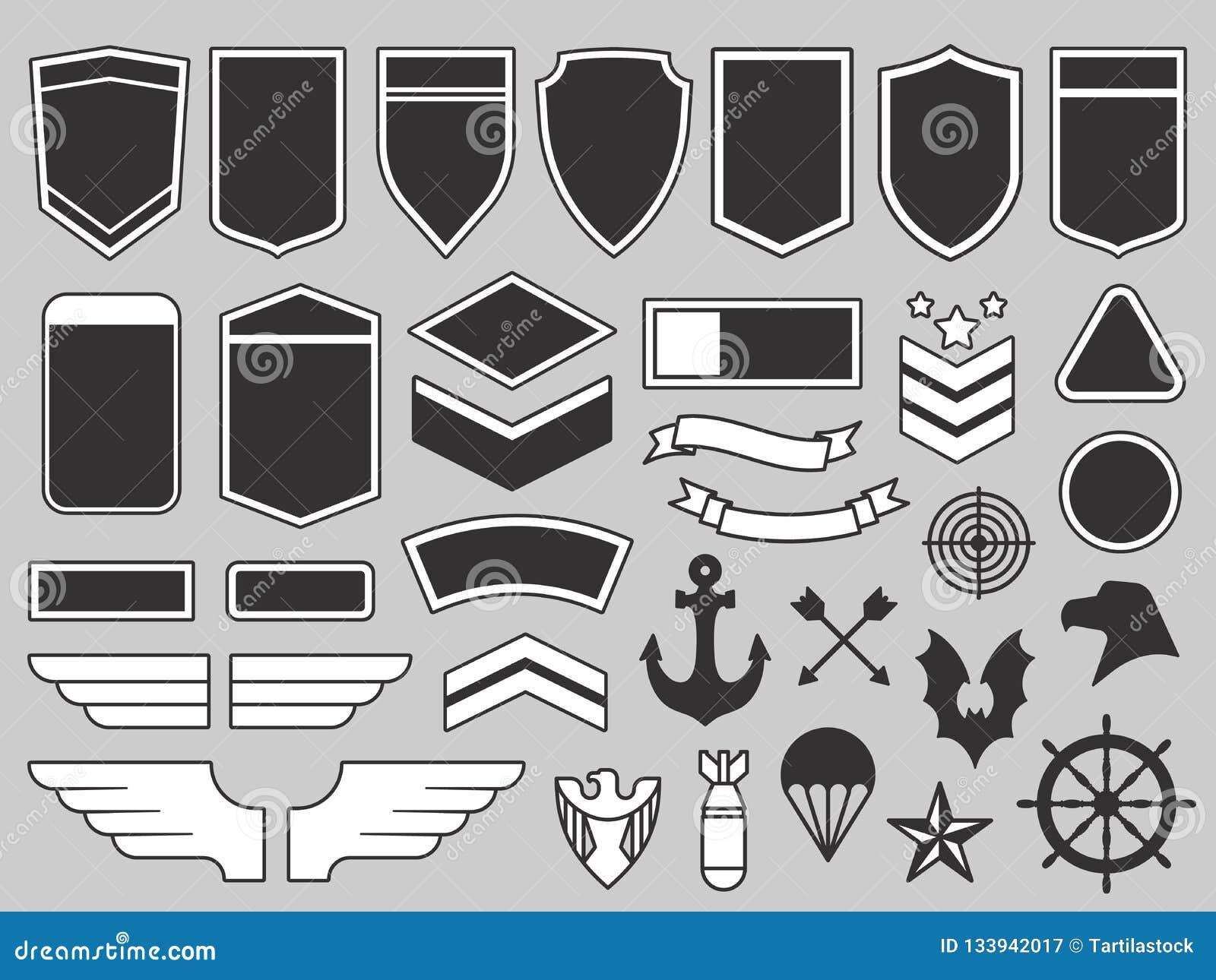 军事补丁 军队战士象征、队伍徽章和空军权威修补设计元素传染媒介集合