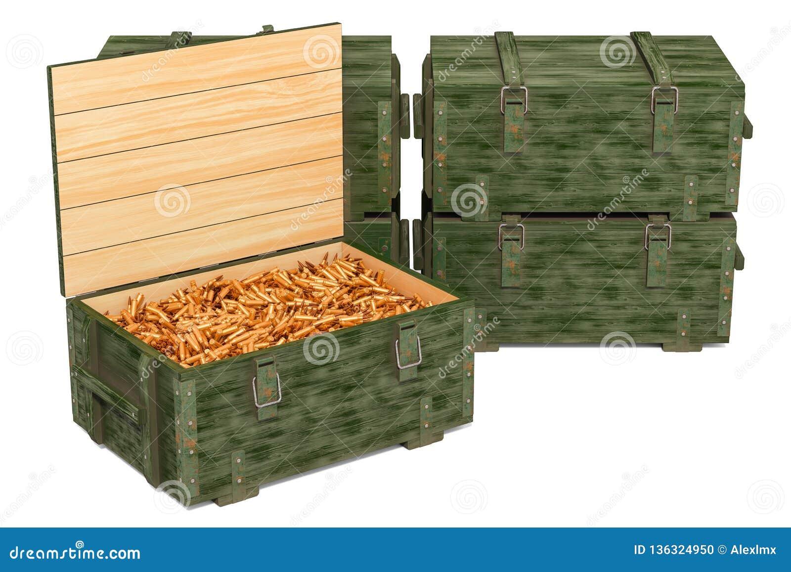军用木弹药箱子用步枪子弹,3D翻译