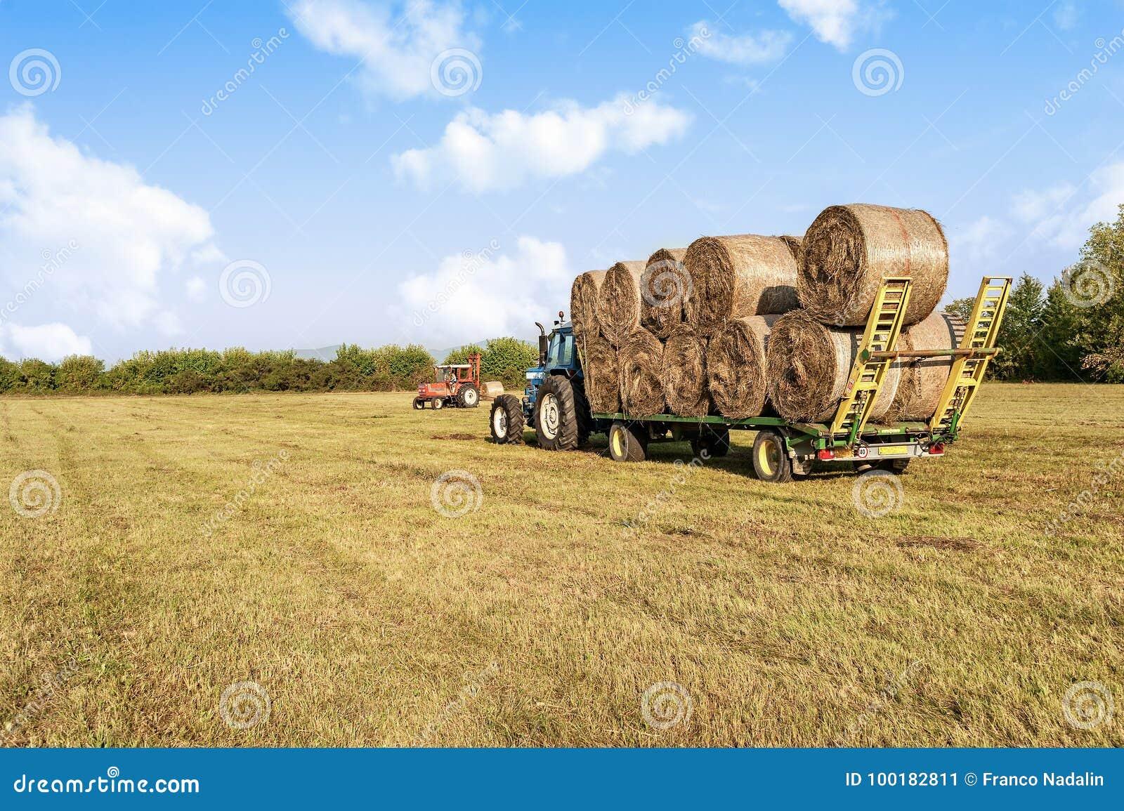 农业场面 在手推车的拖拉机增强的干草捆