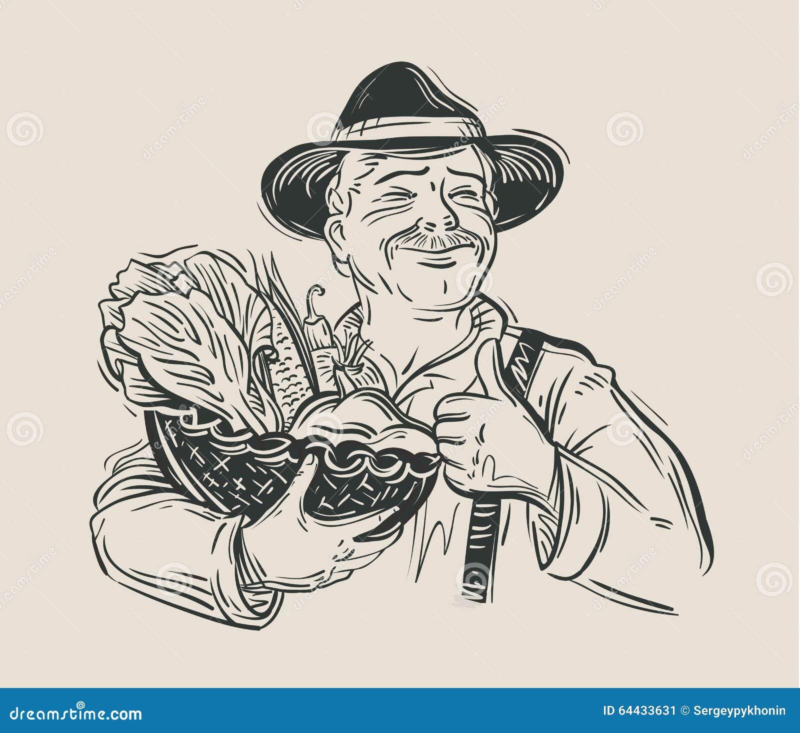 农夫简笔画_农夫和新鲜蔬菜 草图 向量