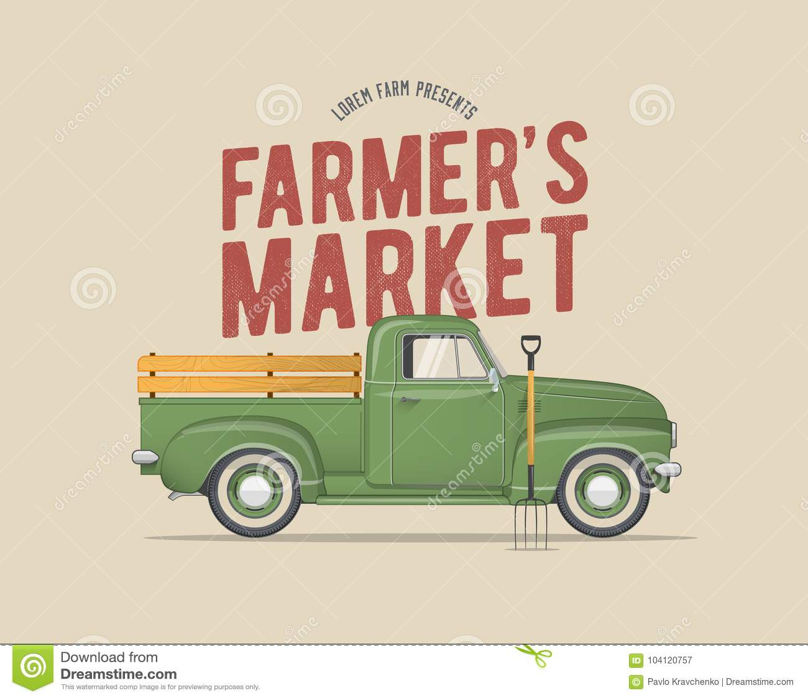 农夫` s市场主题的葡萄酒称呼了守旧派农夫` s绿色卡车的传染媒介例证