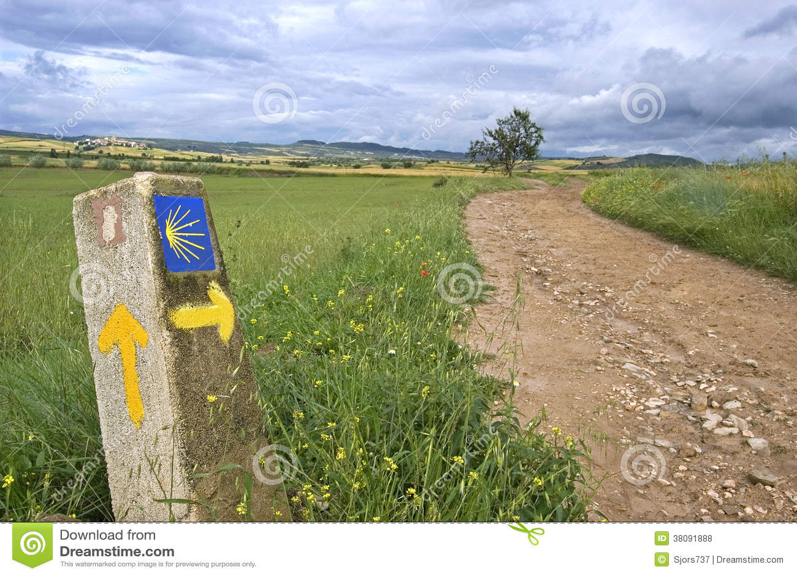 农村风景和方向标圣詹姆斯方式