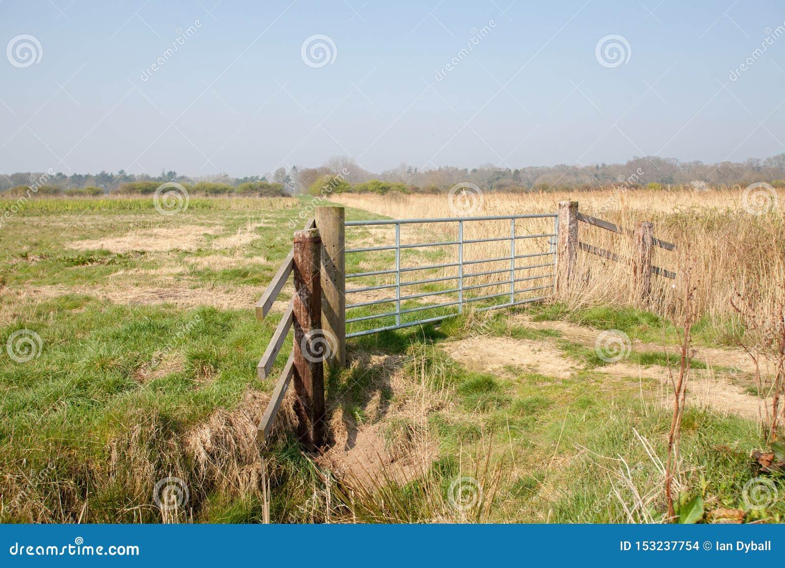 农田门 沿农村诺福克布罗兹农场土地的国家步行