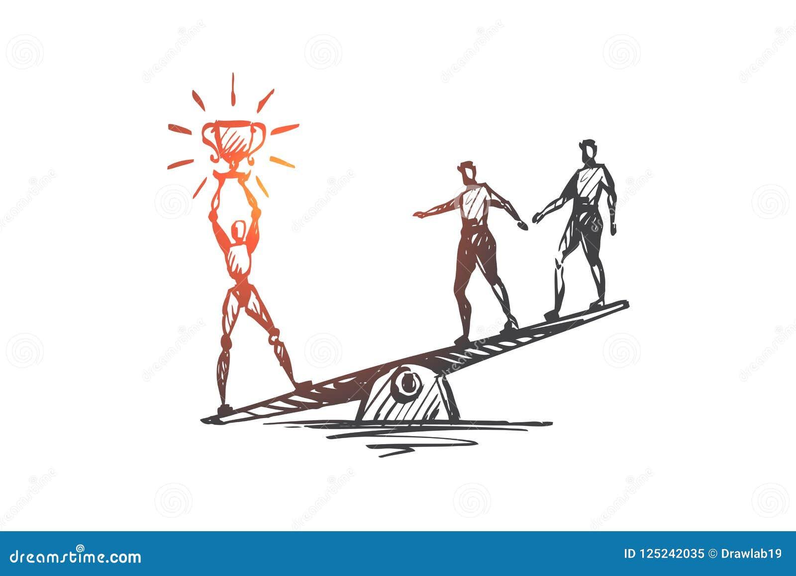 冠军,成功,胜利, HCI,自动化,技术概念 手拉的被隔绝的传染媒介
