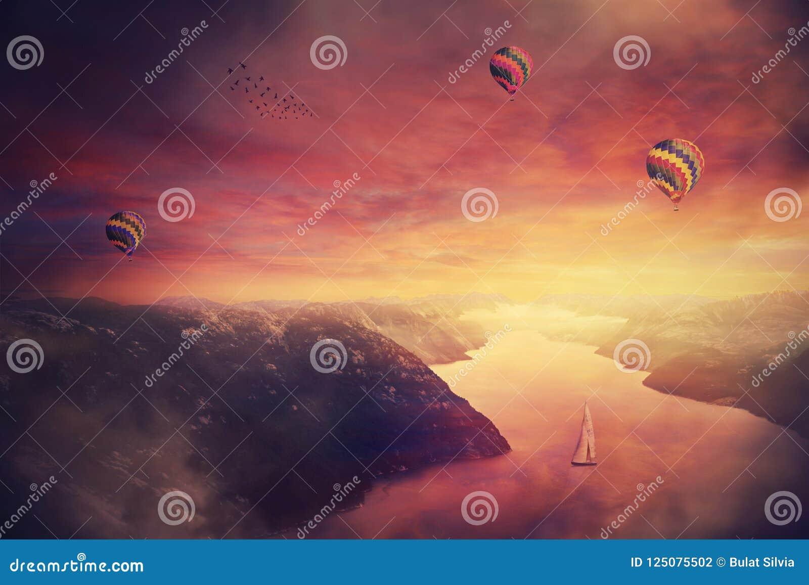 冥想的紫色日落