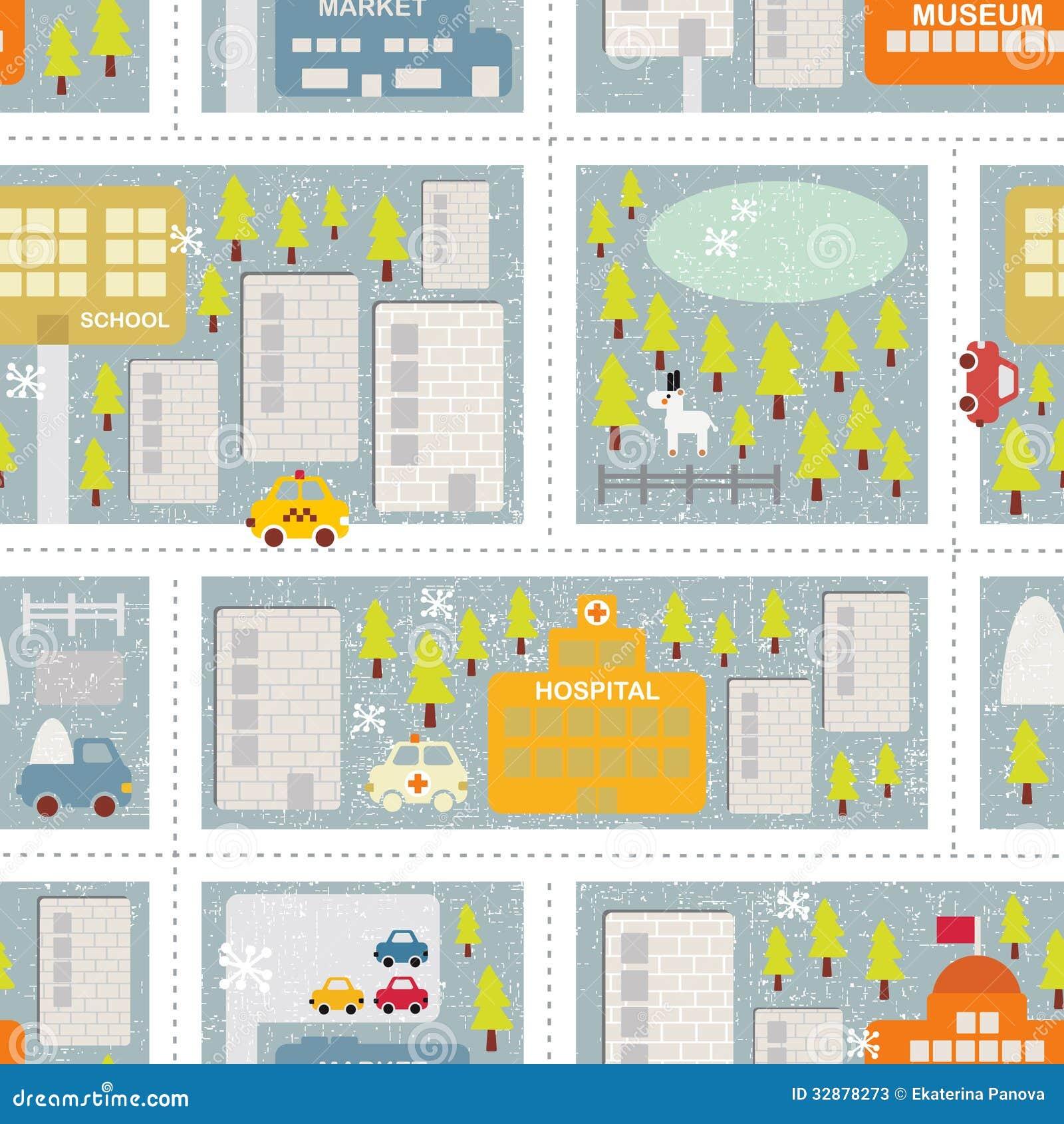 冬天城市的动画片地图无缝的样式。