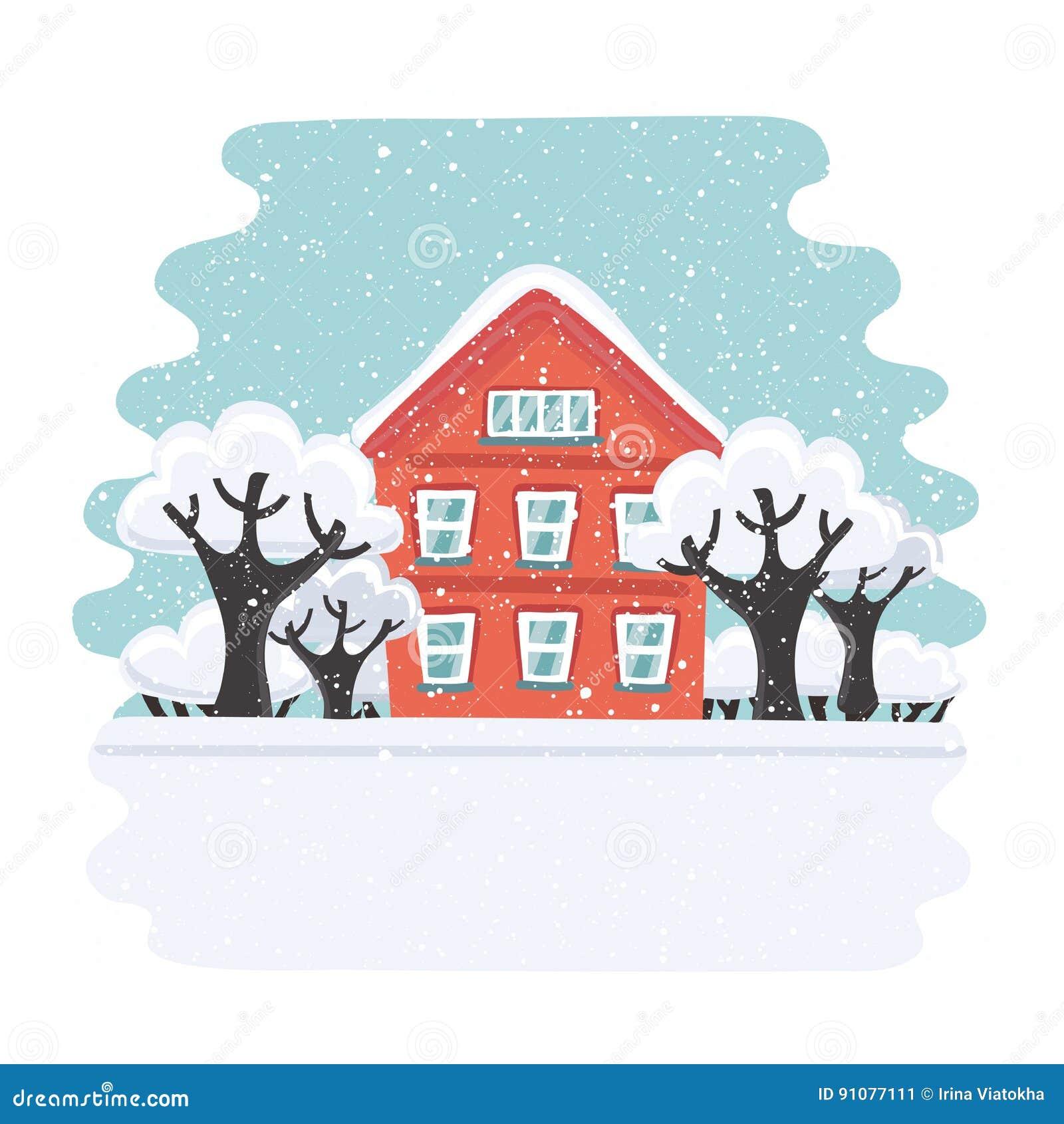 冬天房子 秋天议院 家庭郊区家 传染媒介平的例证