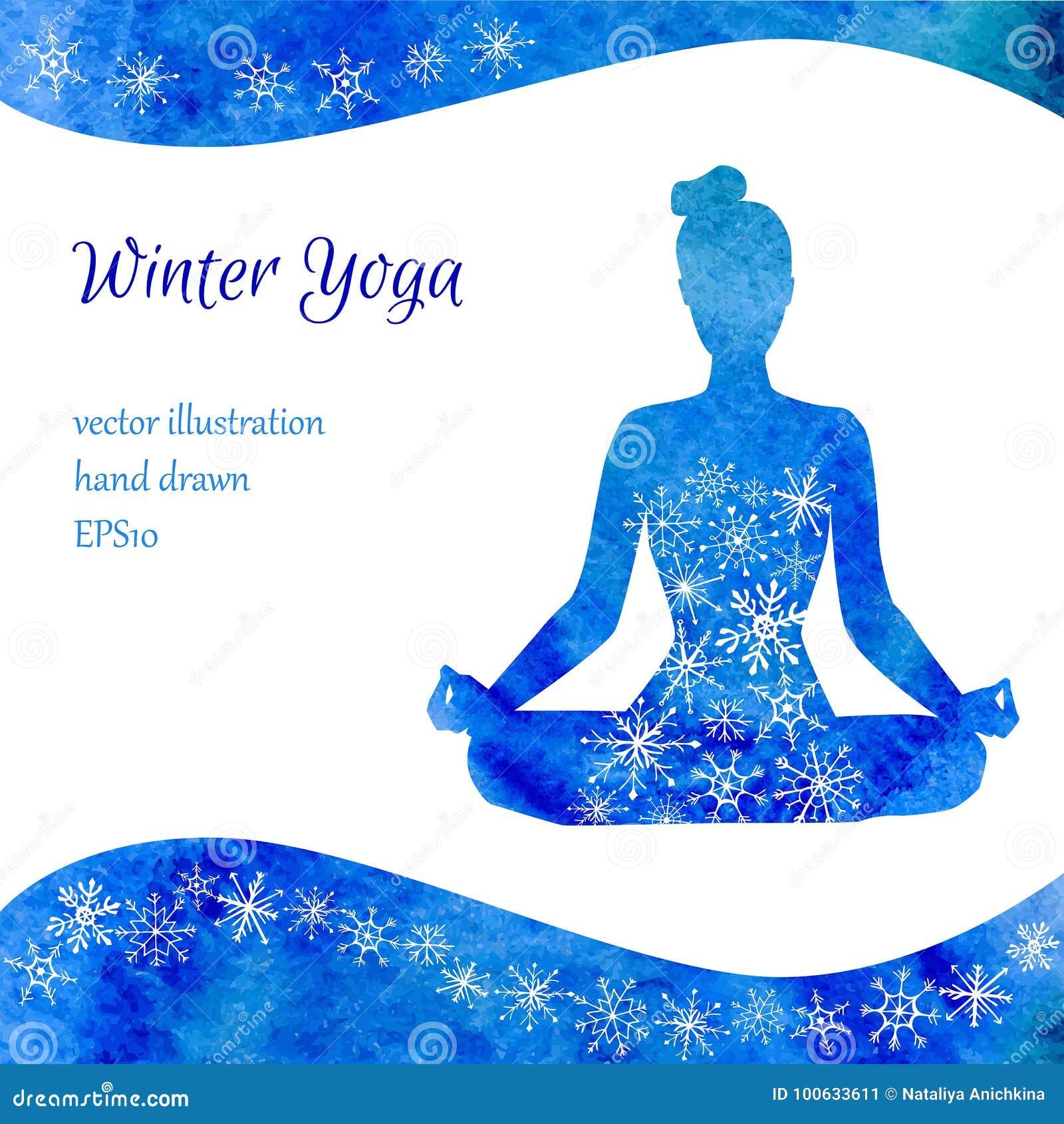 冬天瑜伽传染媒介例证