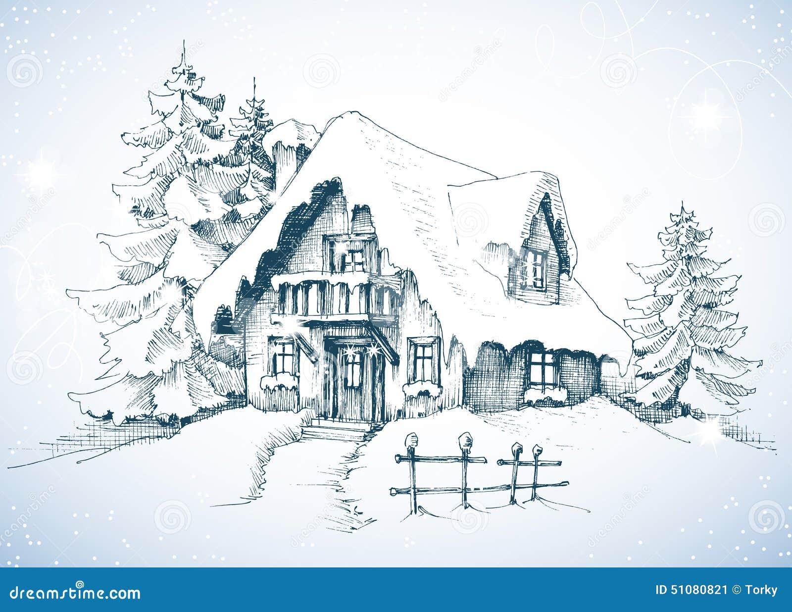 冬天田园诗风景,杉树和房子雪的.图片
