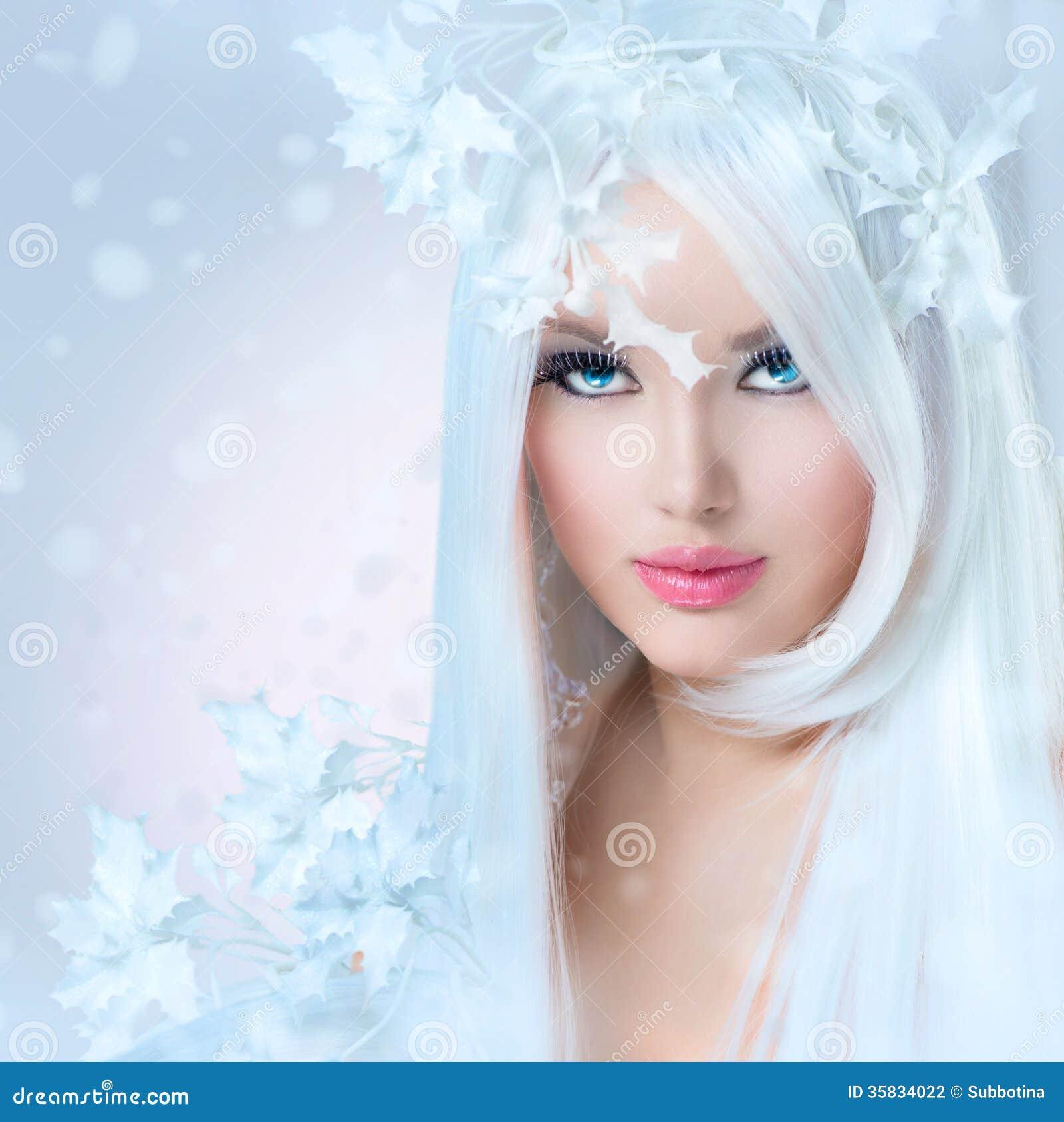 冬天秀丽妇女