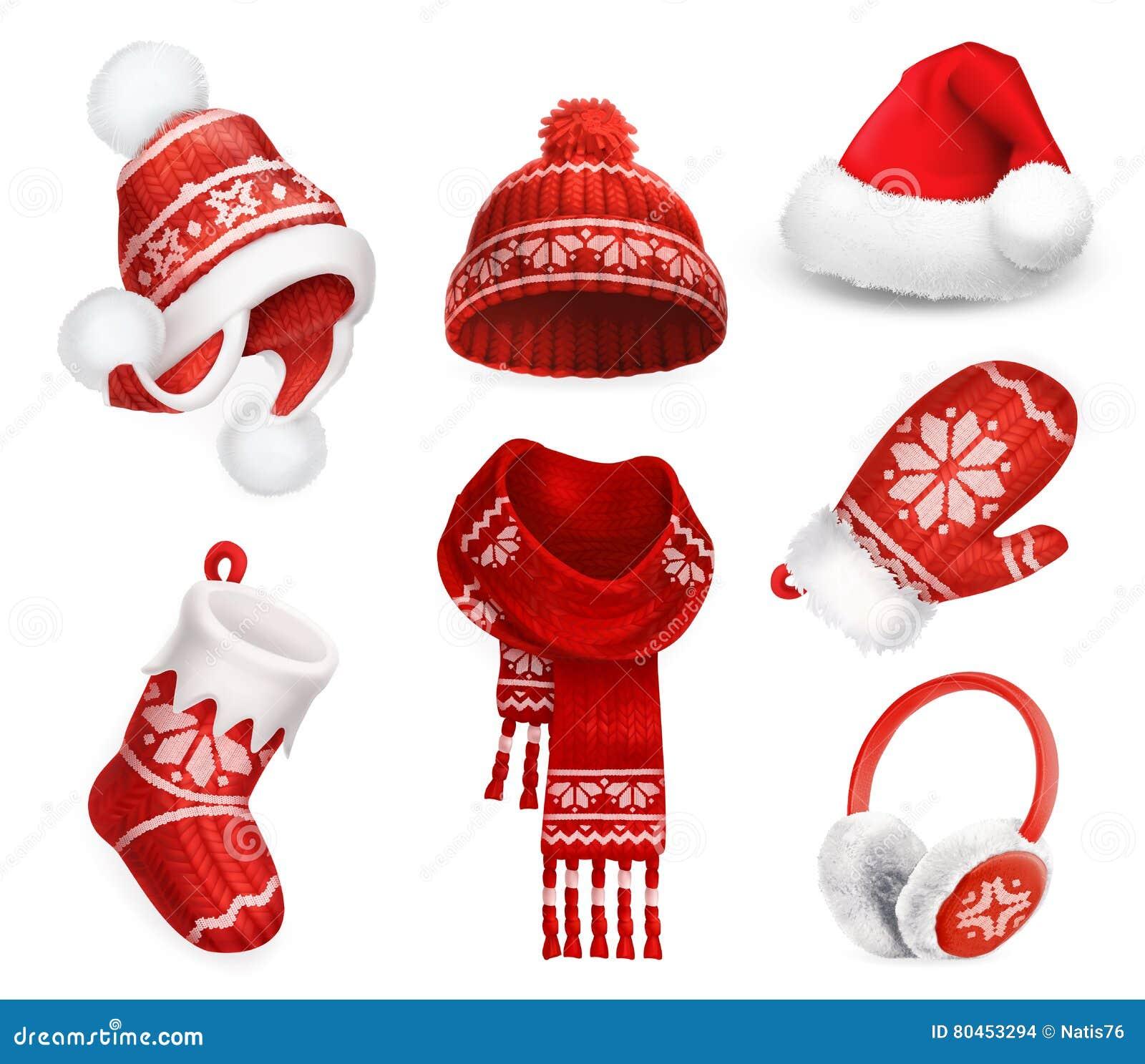 冬天衣裳 圣诞老人绒线帽 被编织的帽子 圣诞节礼品例证红色袜子向量白色 围巾 手套 御寒耳罩 适应图标